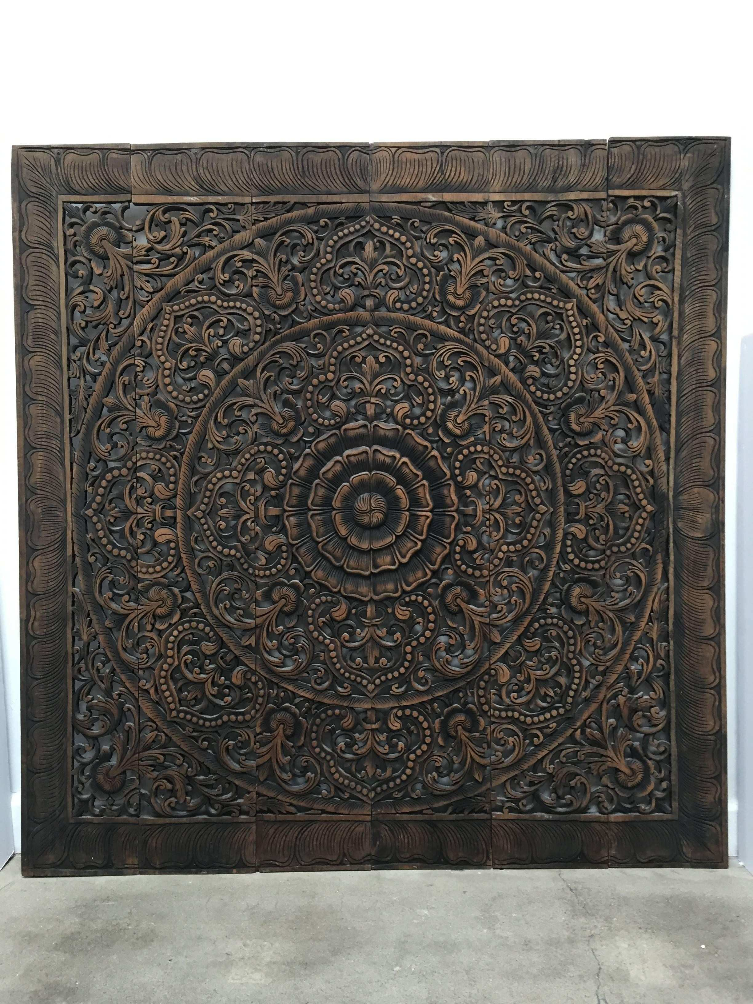 Hand Carved Balinese Oversized Decorative Teak Wall or Ceiling Art