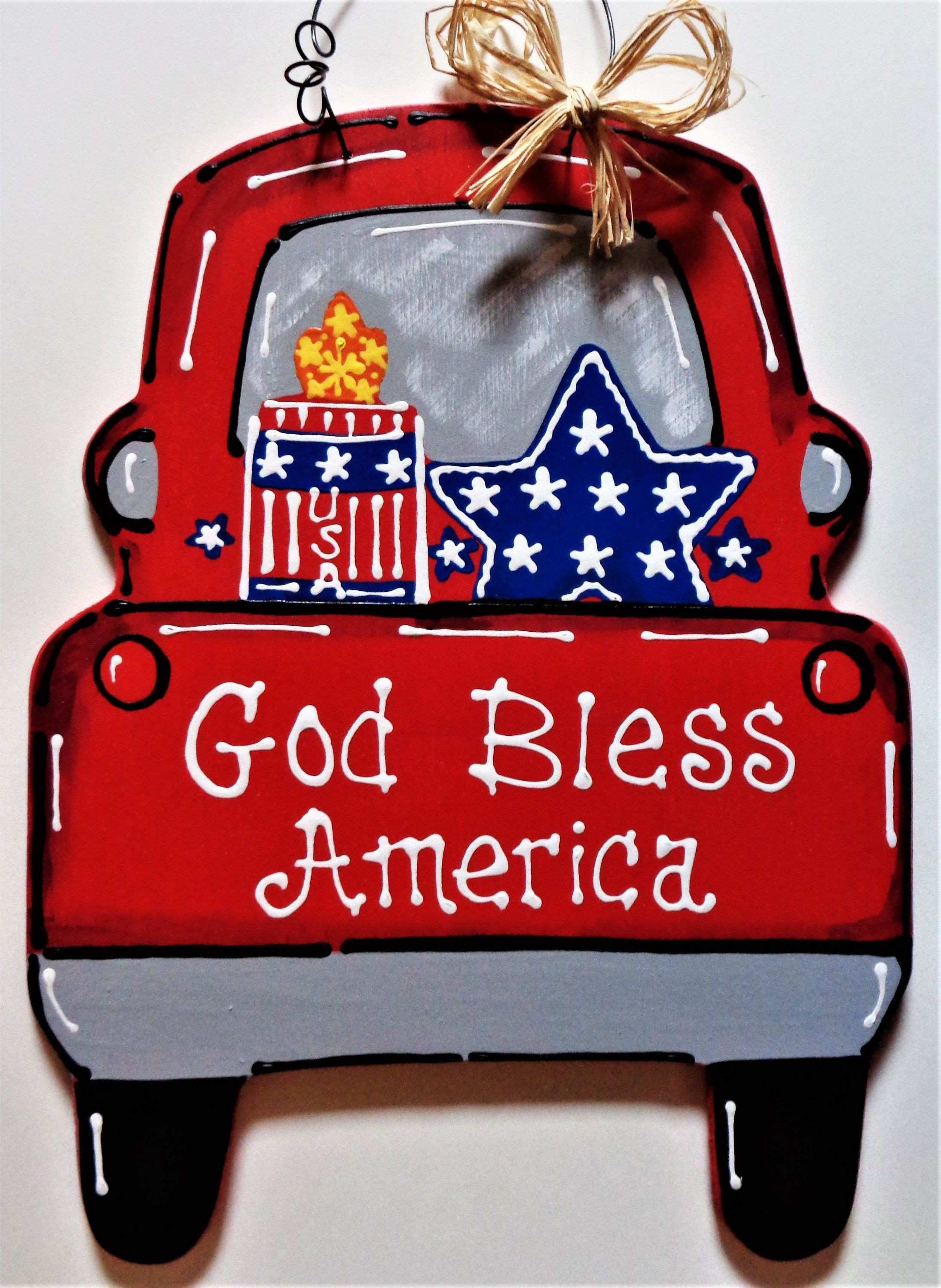 God Bless America VINTAGE STYLE TRUCK Americana 4th July Sign Wall