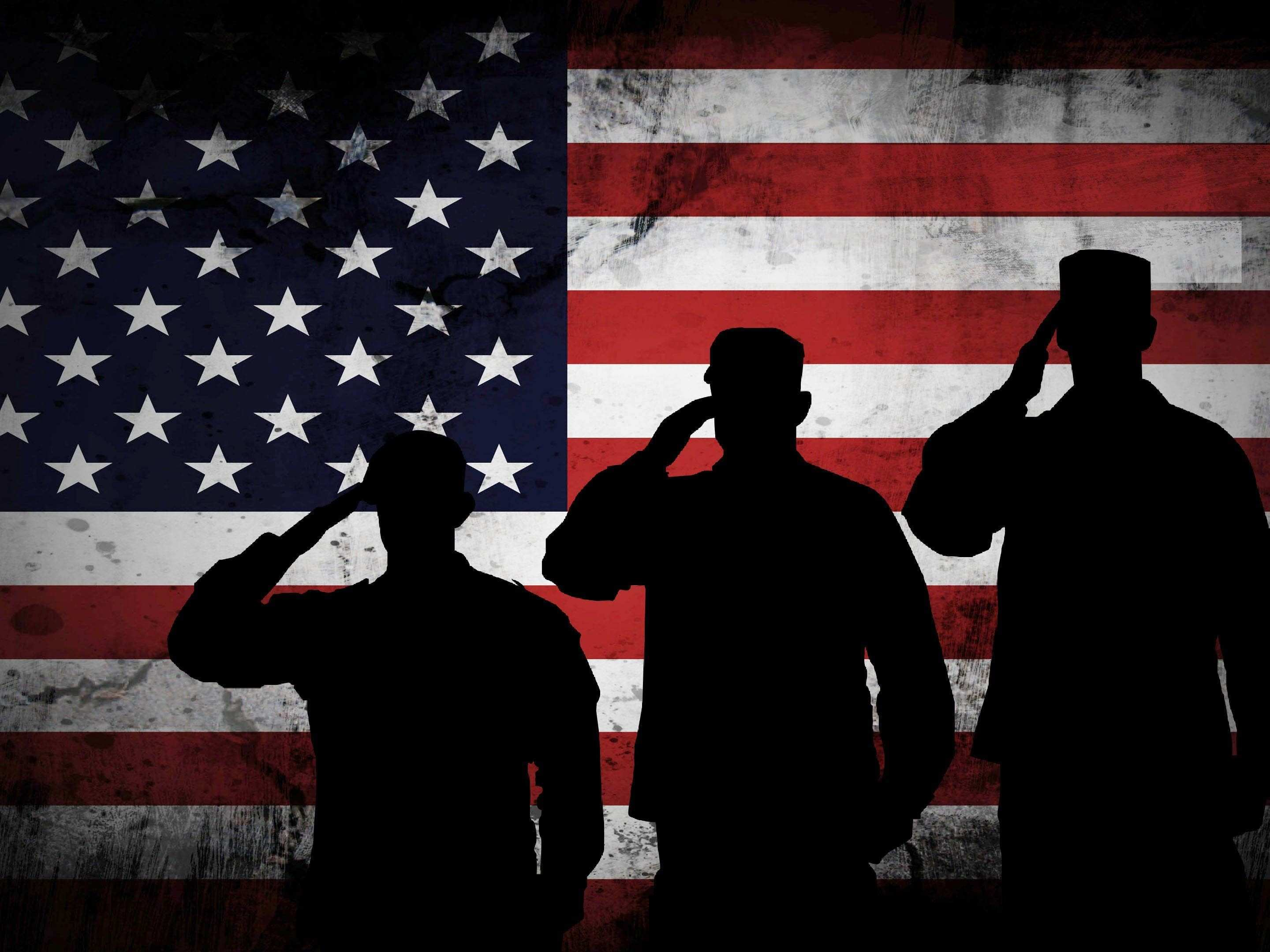 3 US Marines Saluting the American Flag Military Patriotic Army Wall