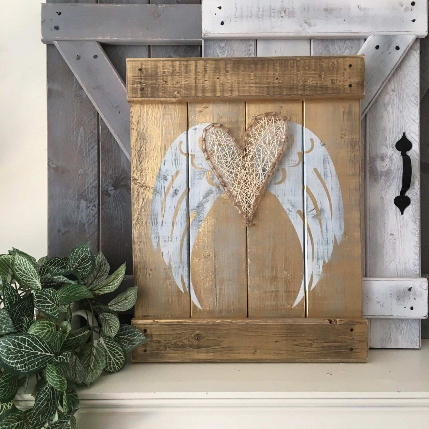 "SHABBY CHIC WINGS 18"" x 14"" angel wings decor angel symbolism"