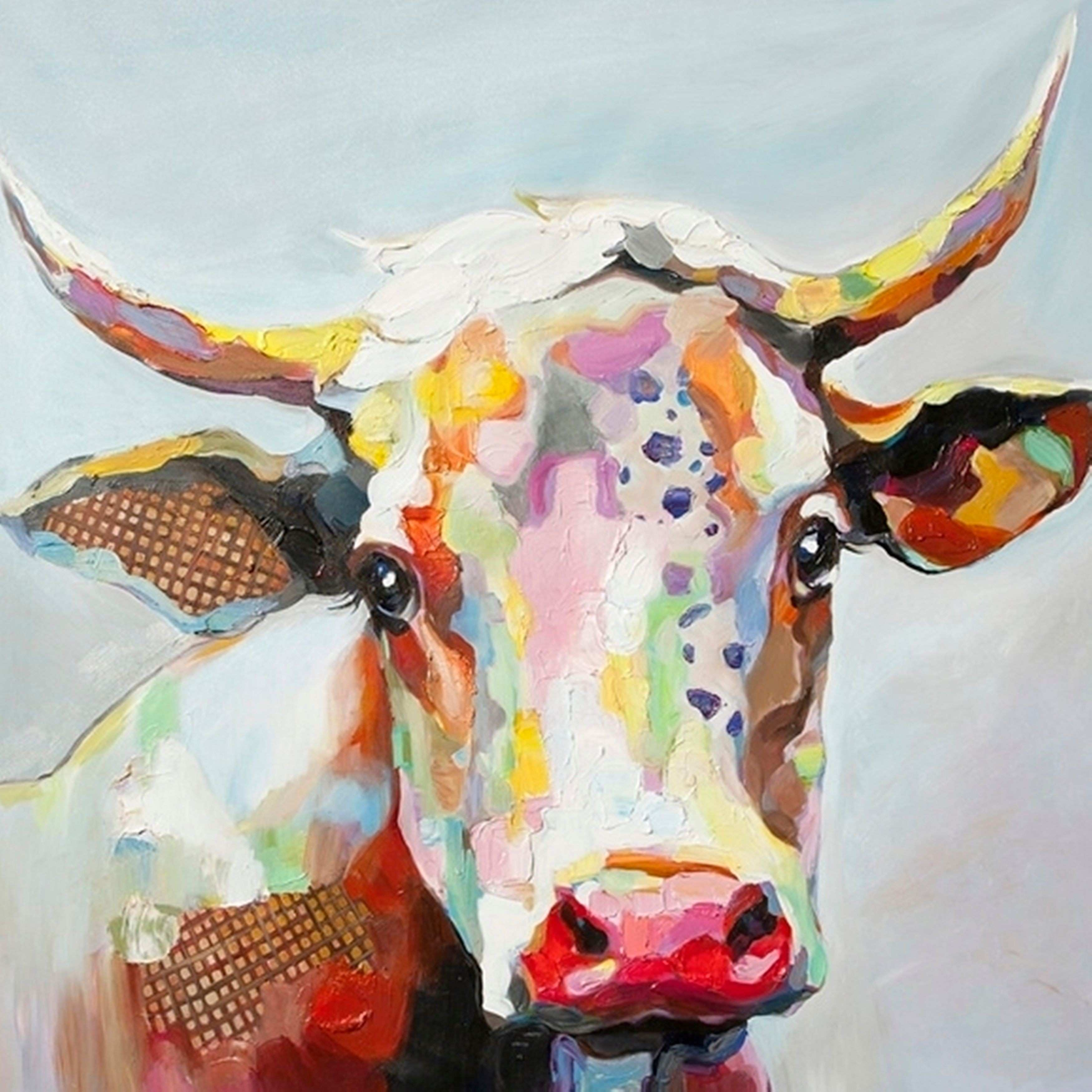 StyleCraft Bessie The Cow Multicolored Stretched Canvas Wall Art