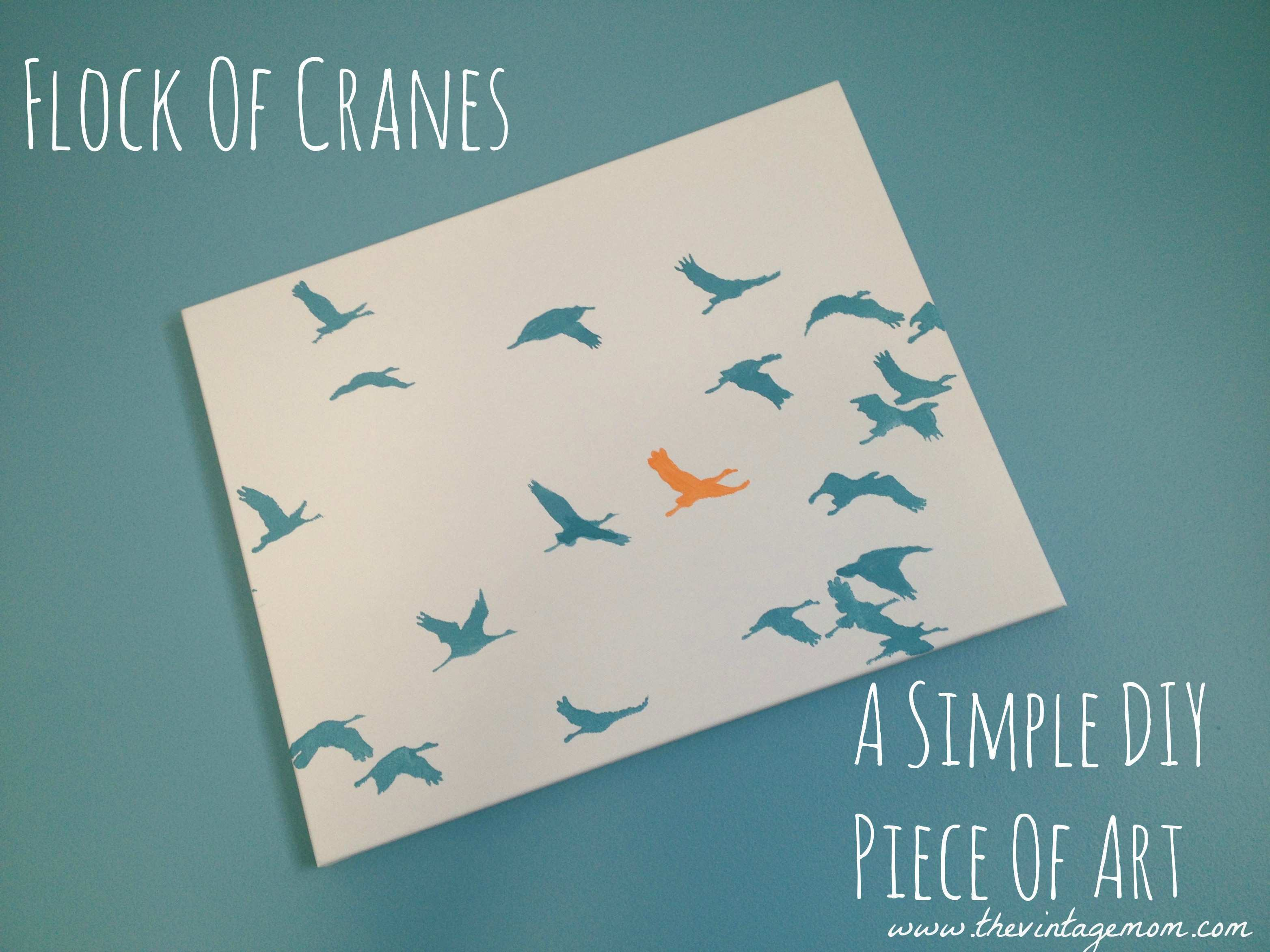 Flock of Cranes A Simple DIY Piece of Art Giveaway The Vintage Mom