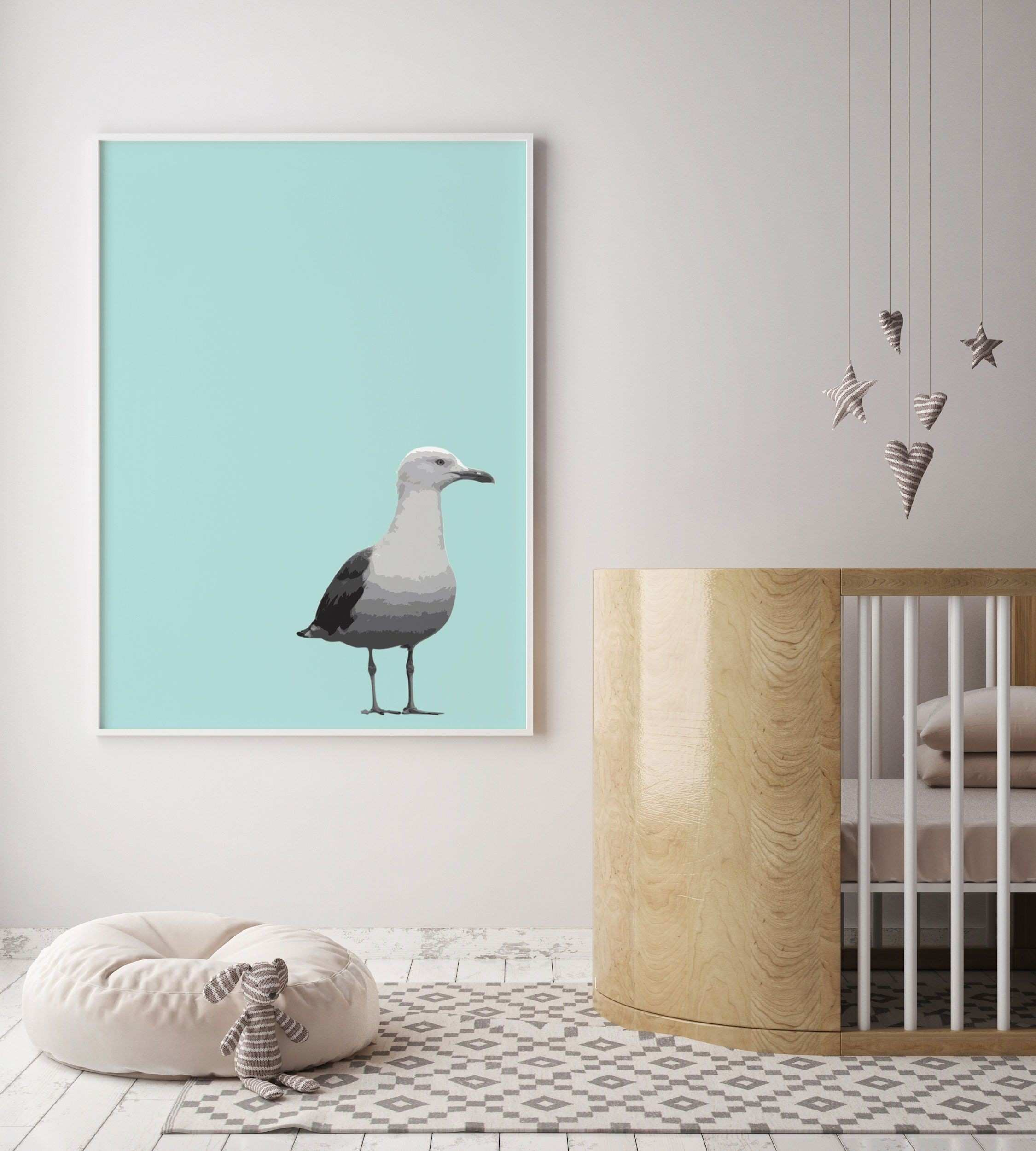 Bird Nursery Decor Bird Art Seagull Wall Art Nursery Wall Art