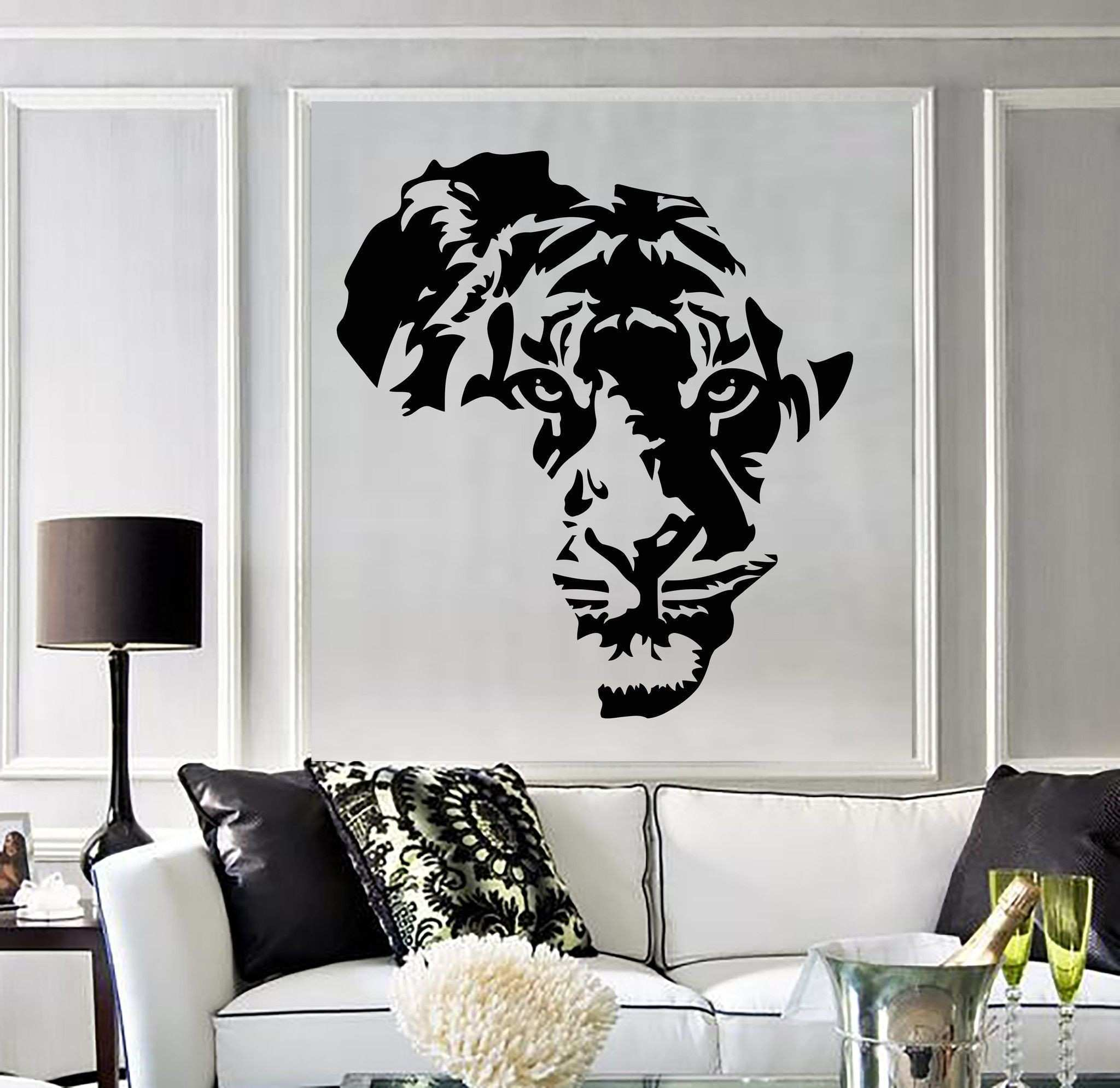 Vinyl 4 Decor Inspirational Vinyl Decal Tiger Animal Africa Map Kids