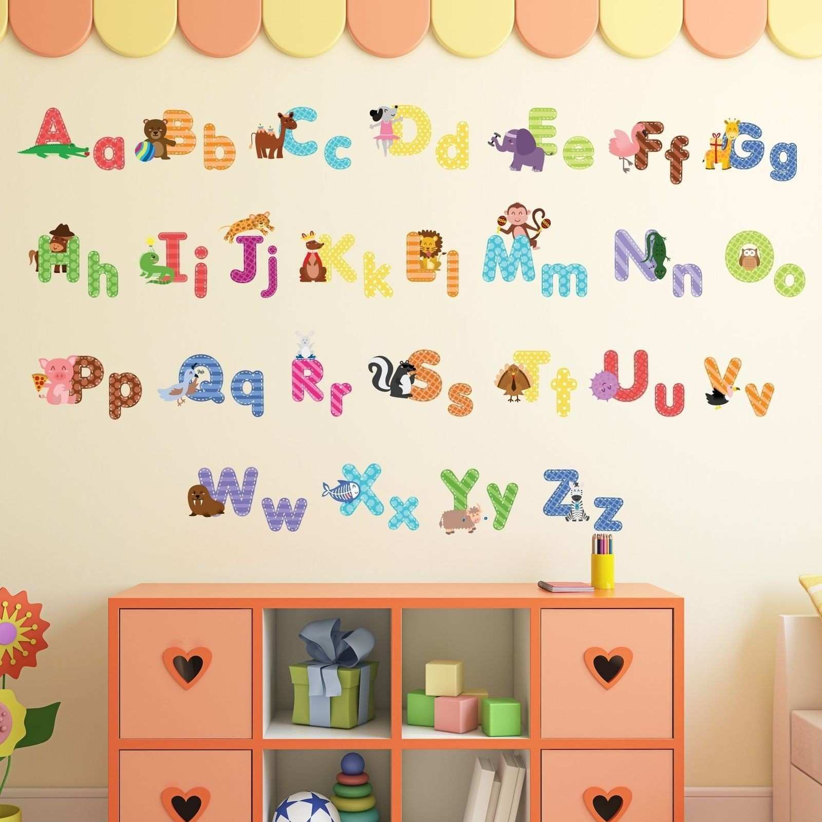 Animal Alphabet Wall Decals Baby and Toddler Decor Fun ABC Stickers