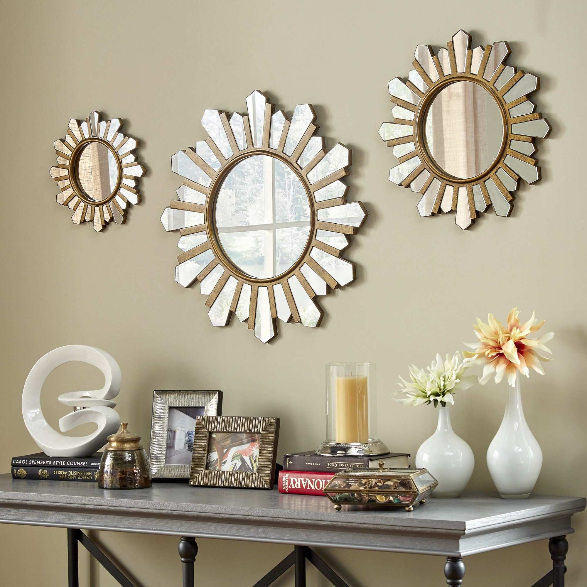Soledad Gold Sunburst Wall Mirrors Set Inspire Q Modern Yellow