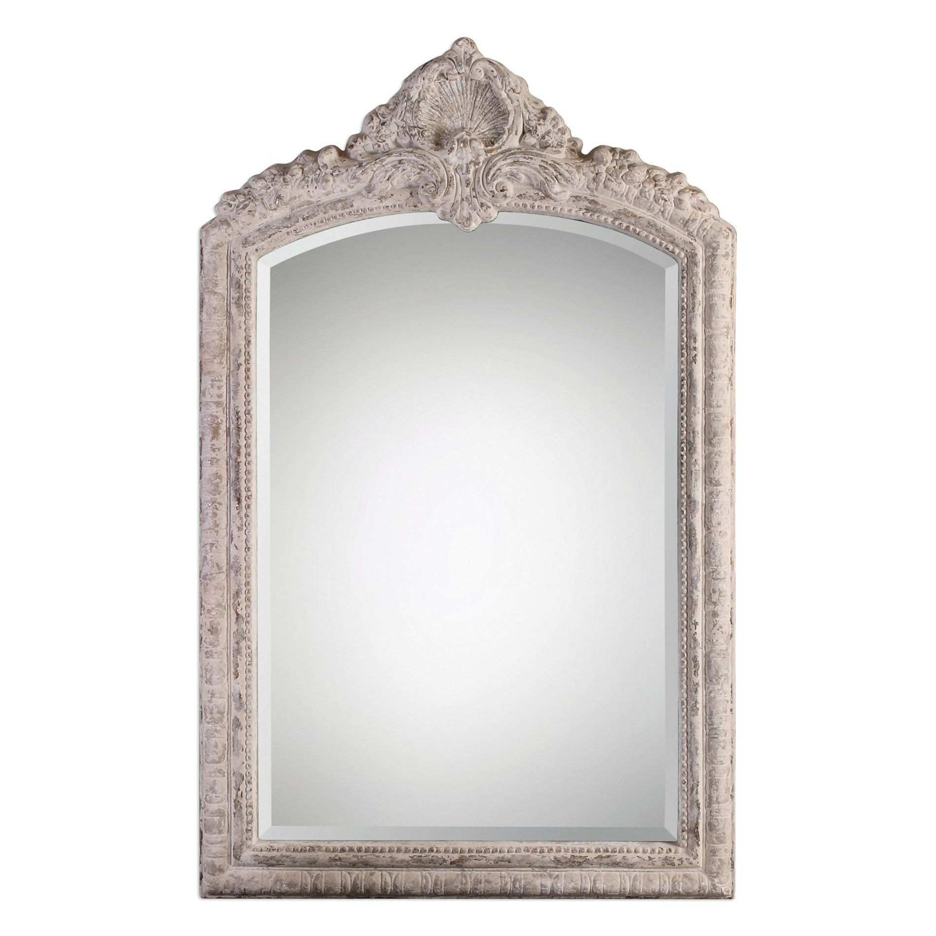 Charente Aged Ivory Arched Mirror by Uttermost