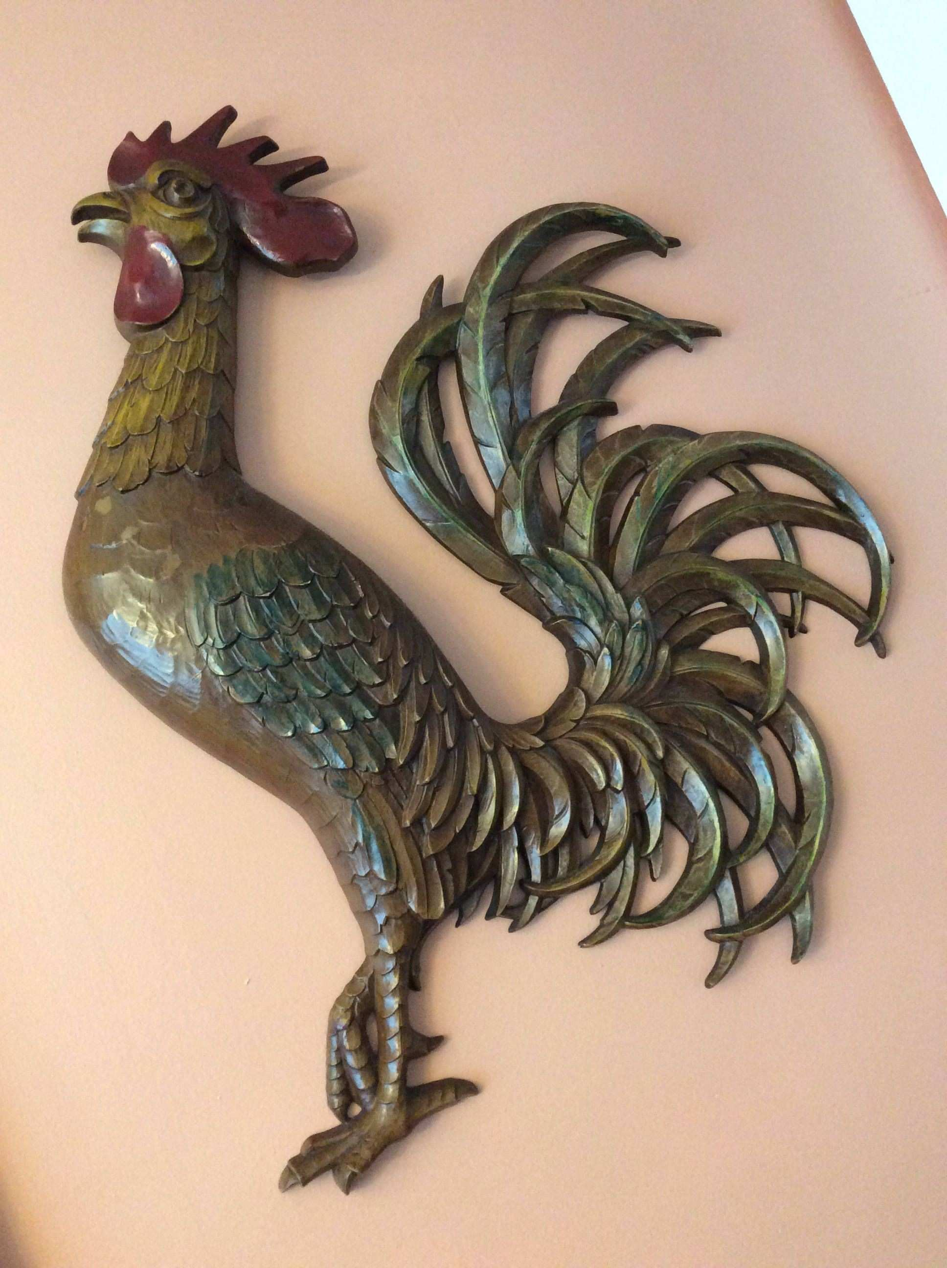 Vintage 1950s 1960s Huge Rooster Wall Art Chicken Hen Cock B881