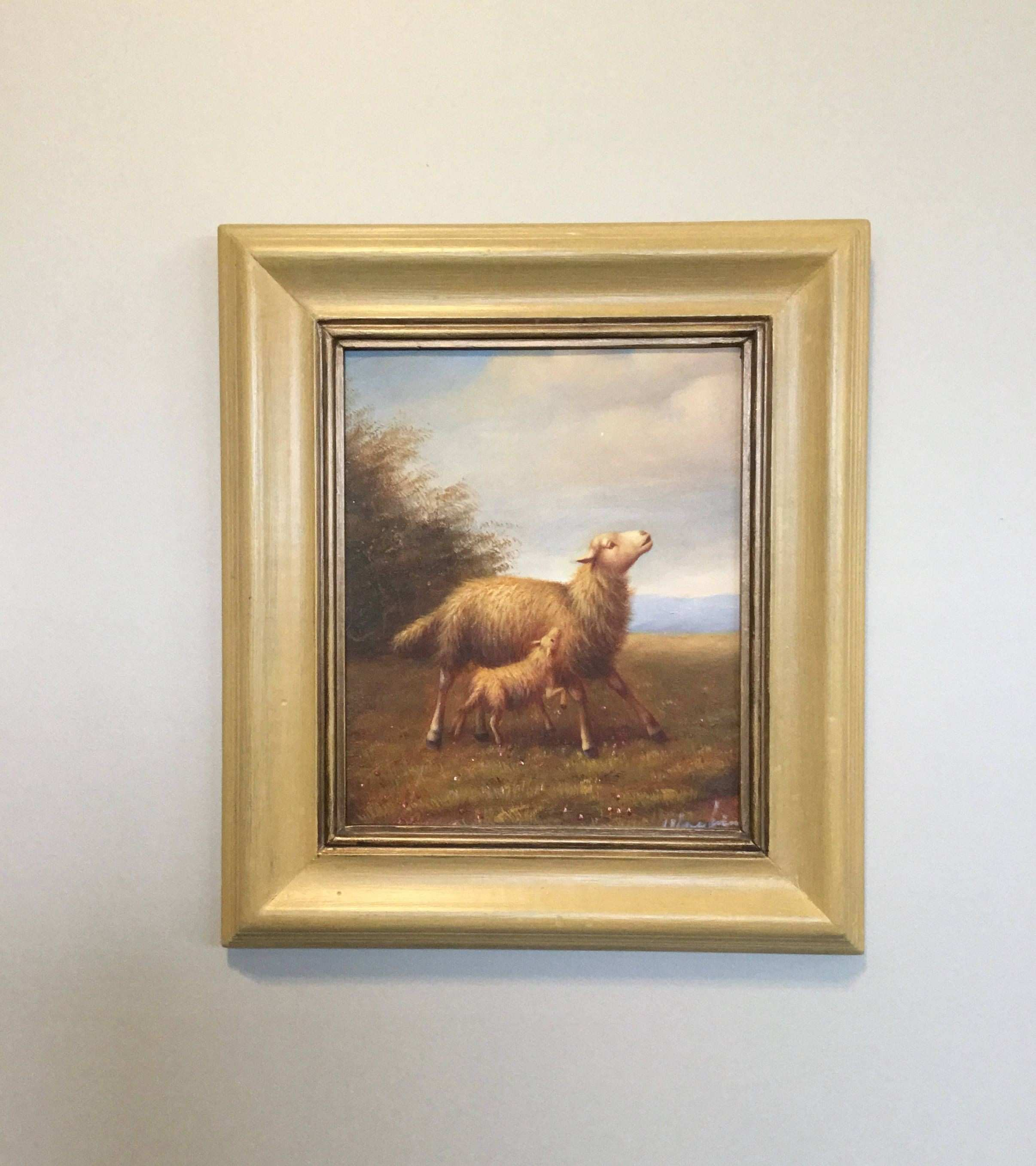 ON SALE Signed oil painting of mother and baby sheep in a hand