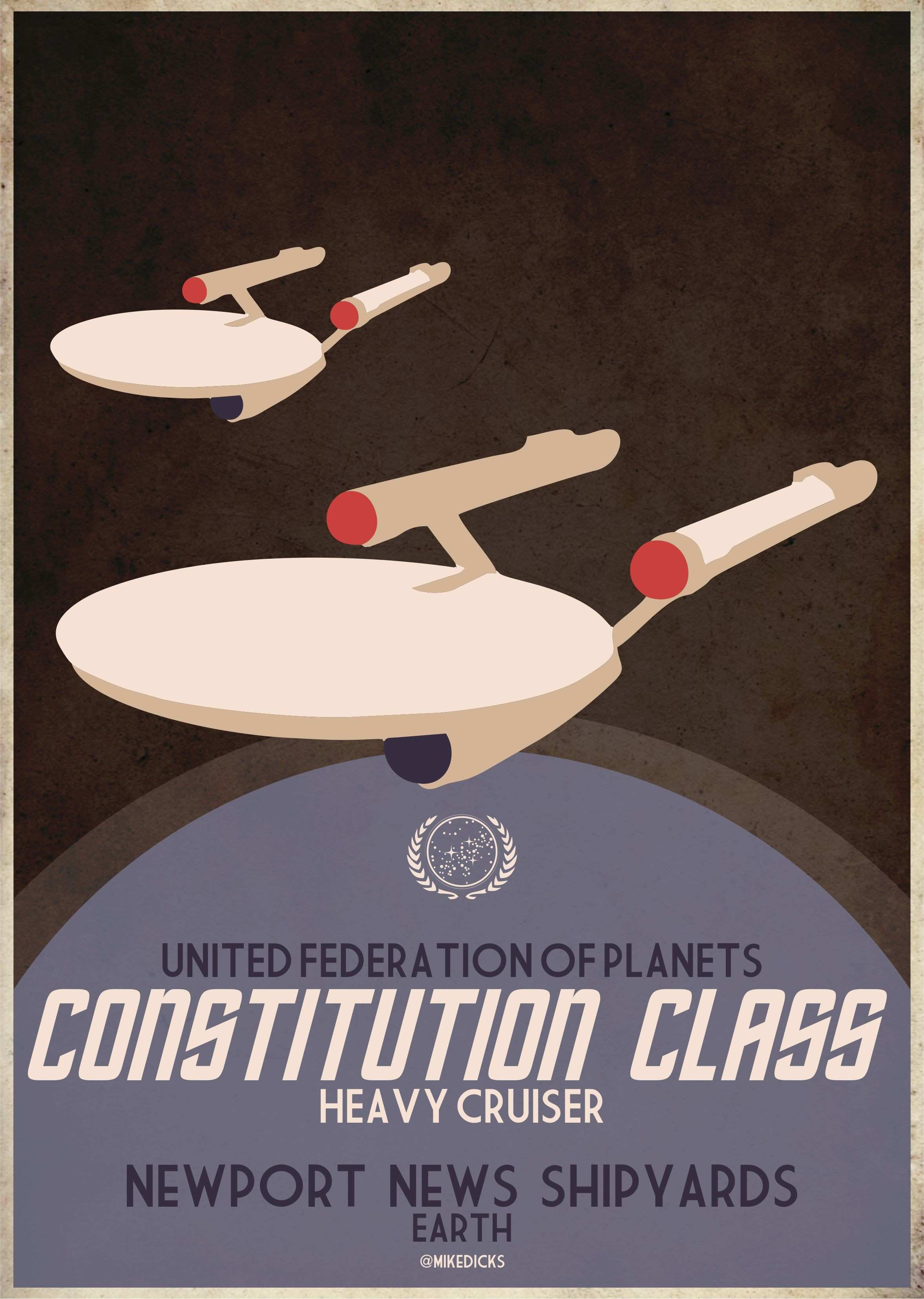 Star Trek Retro Poster Constitution class NCC 1701 based on NYC