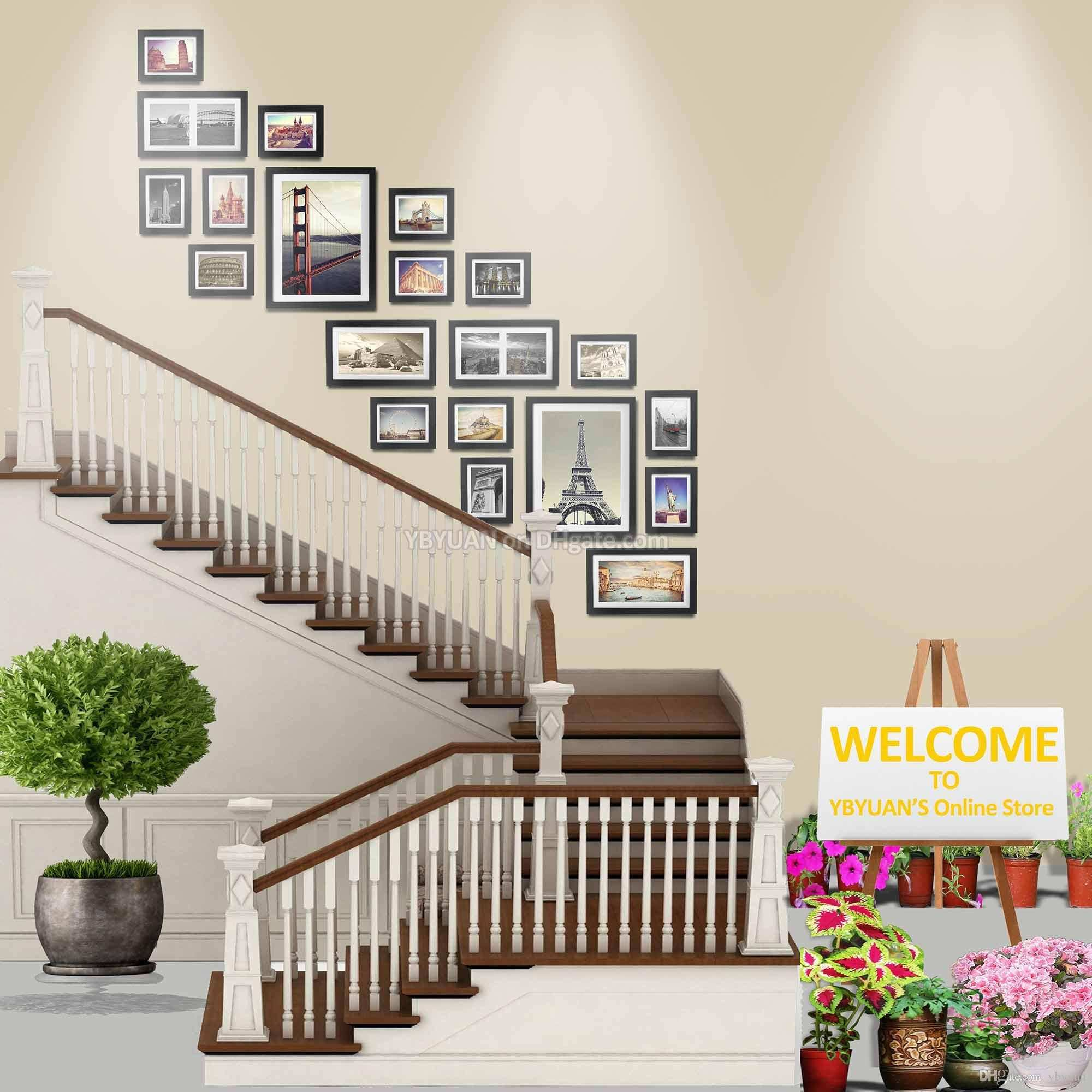 Wood Frame Stairwell Gallery Wall Modern Style Flat