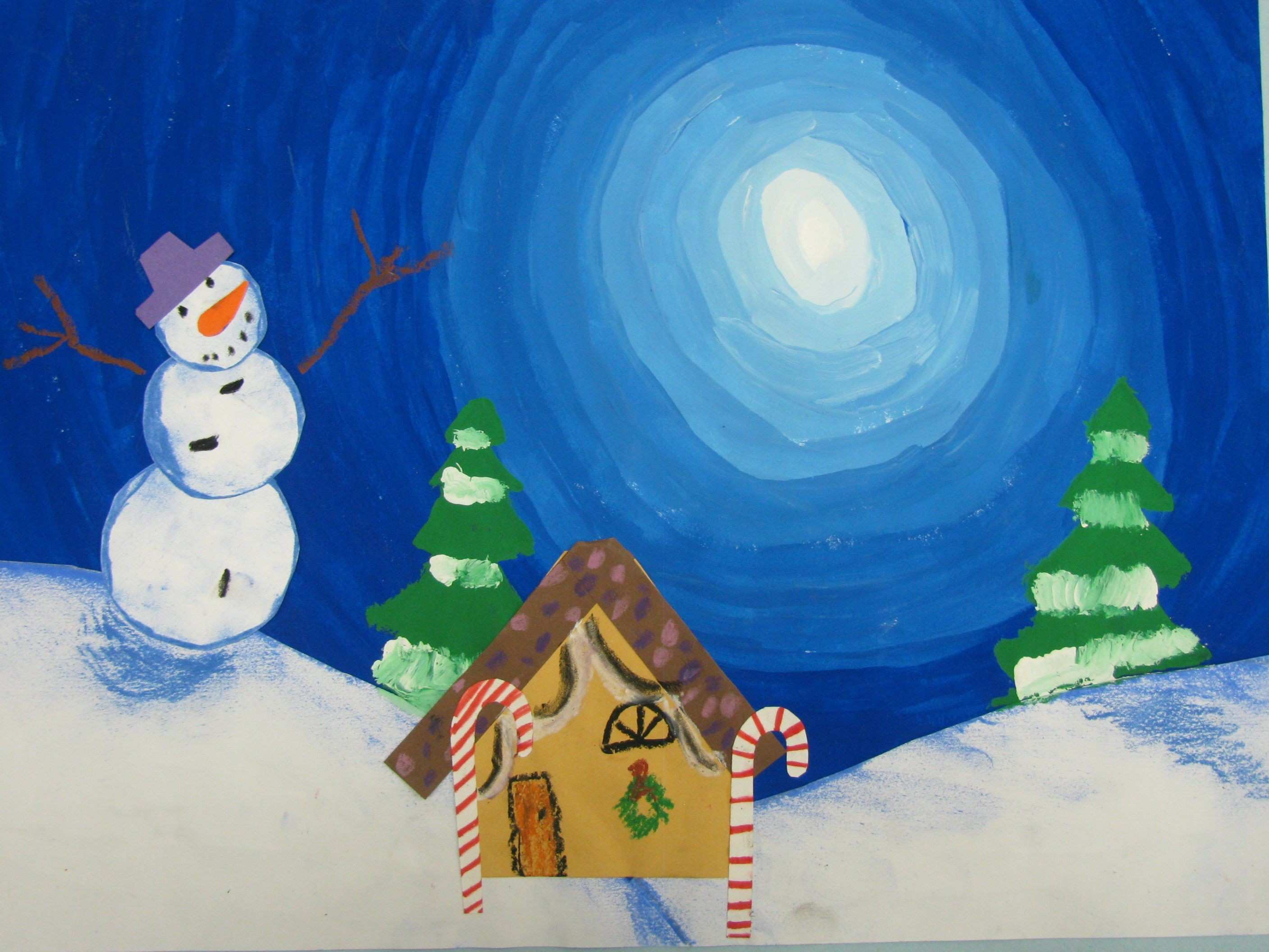 "3rd grade value sky snowman painting 12""x18"" lesson by art teacher"