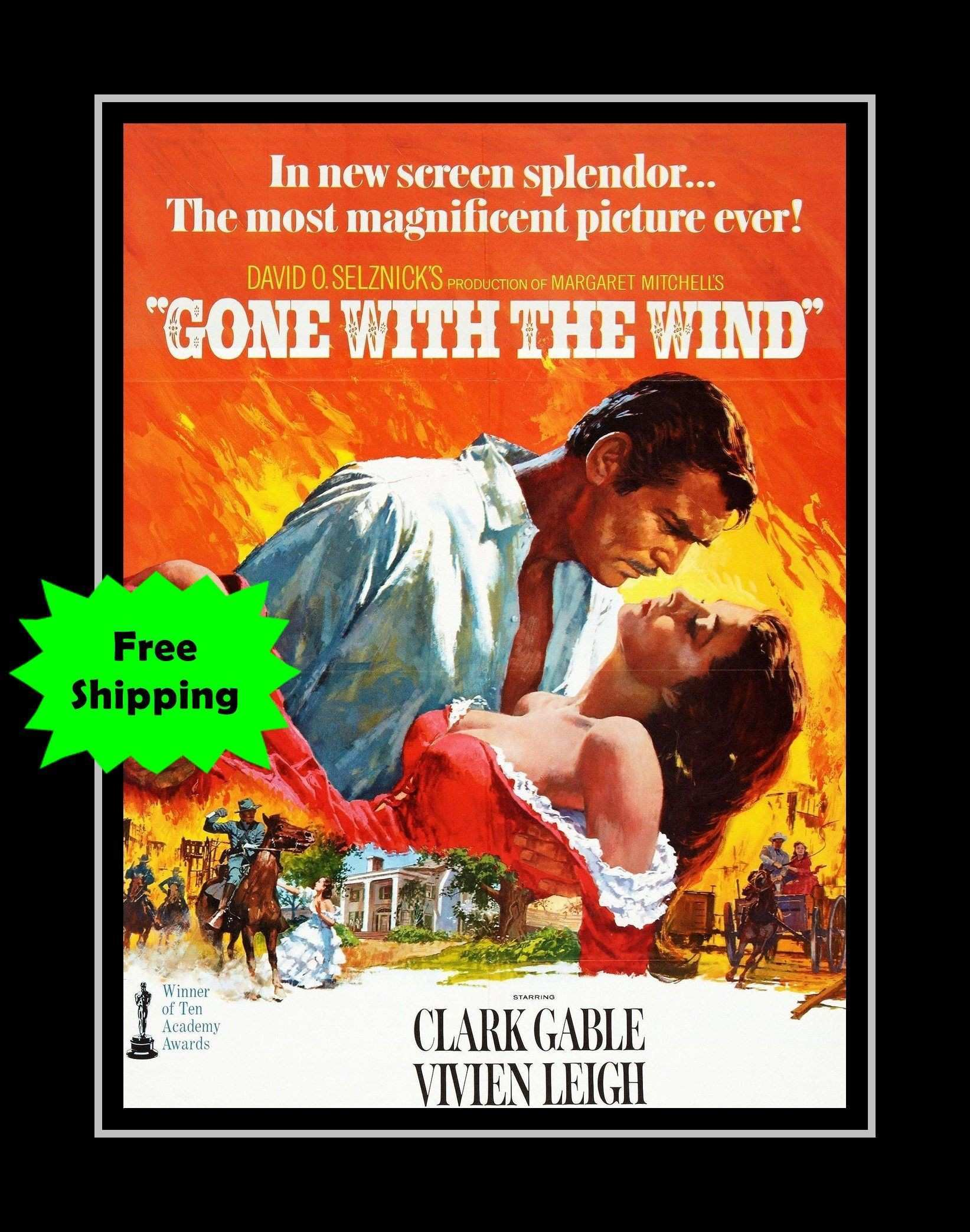 Gone With the Wind Movie Poster Bathroom Wall Art Clark Gable