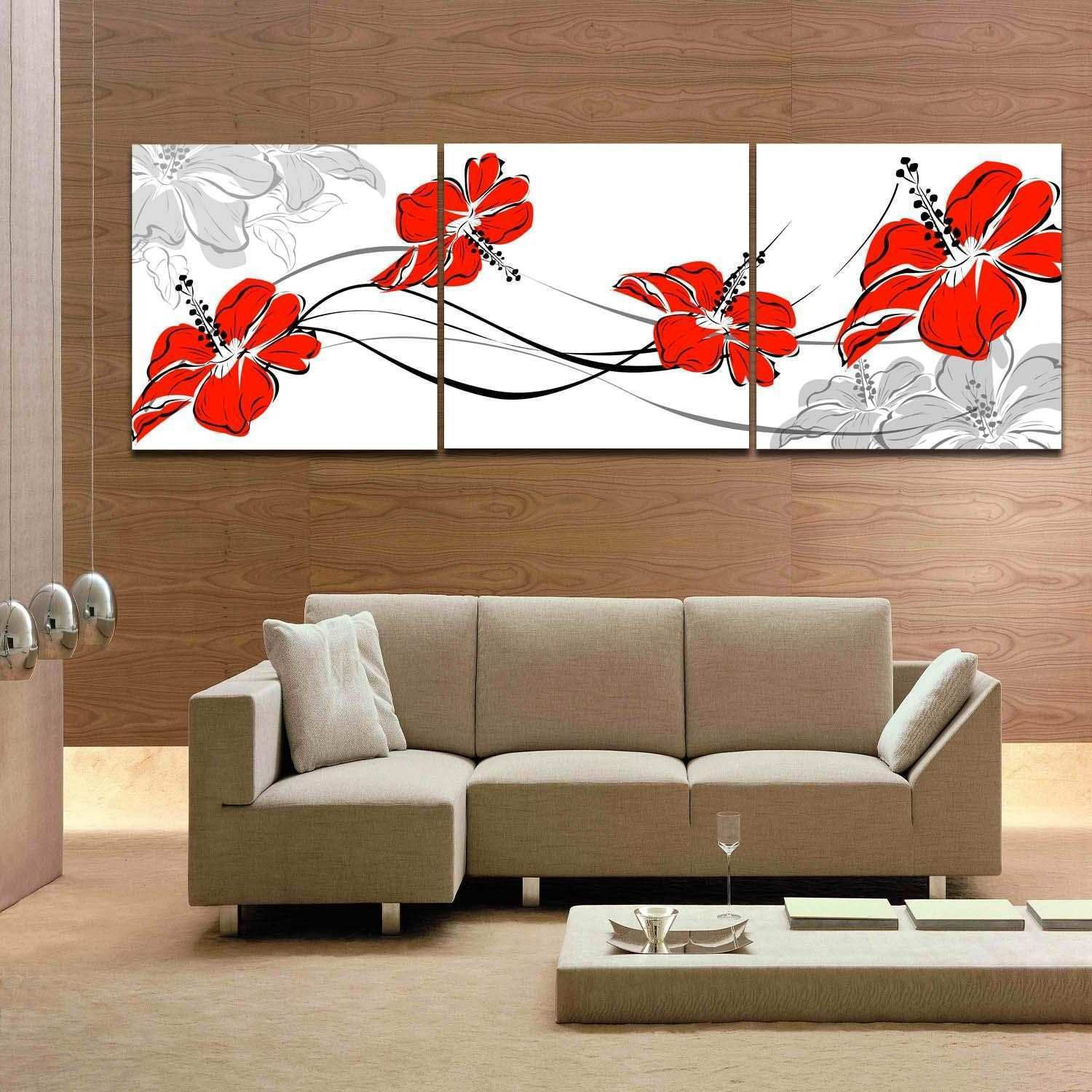 Pink Blooming Flower Red Flower 3 Panels Beautiful Canvas Art