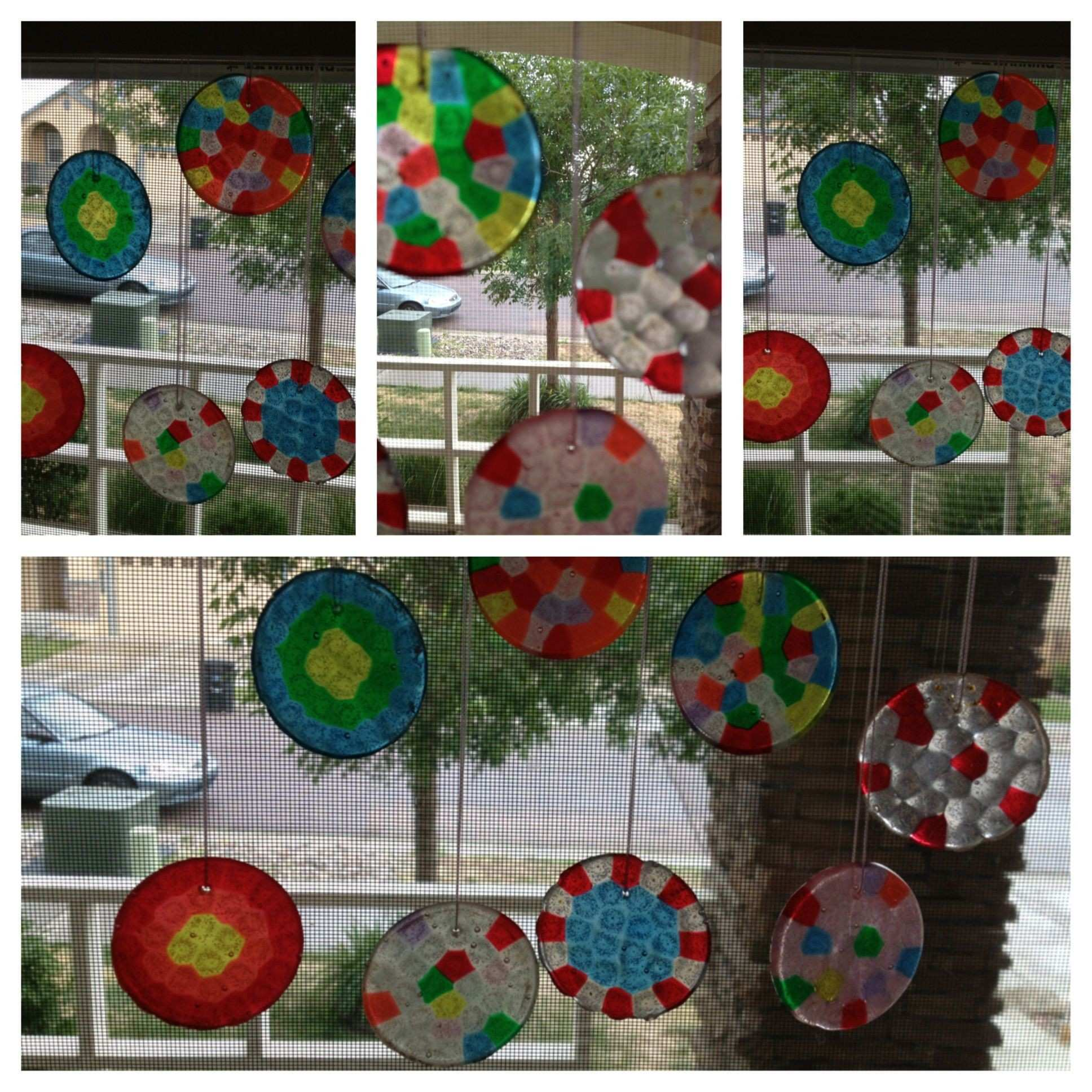 """Pony bead sun catchers Use a """"washer"""" instead of drilling a hole"""