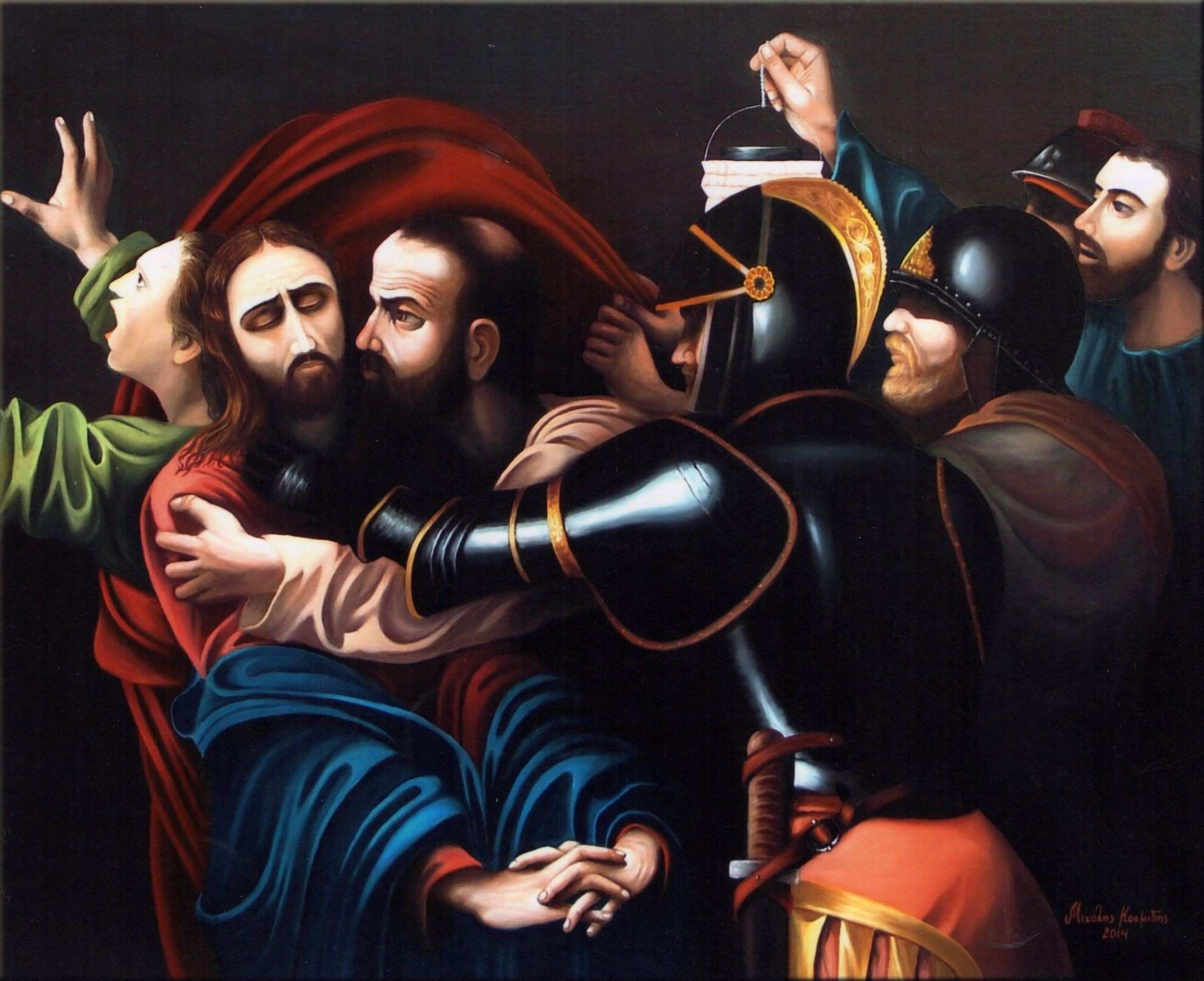 Temple guards of the Sanhedrin 2014 by Michalis Kosmidis Oil on