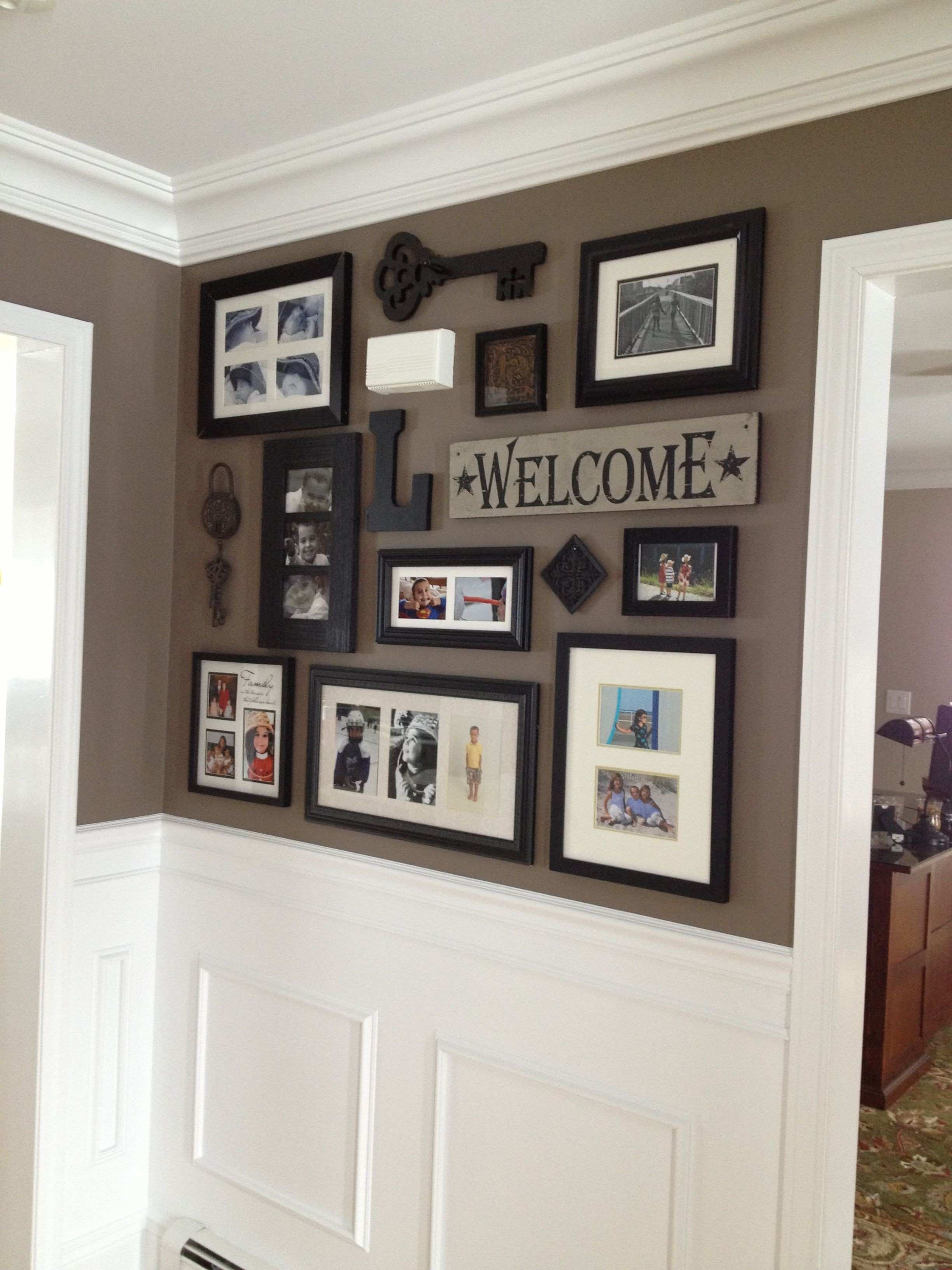 Picture collage for front entry and impressive wainscoting crown