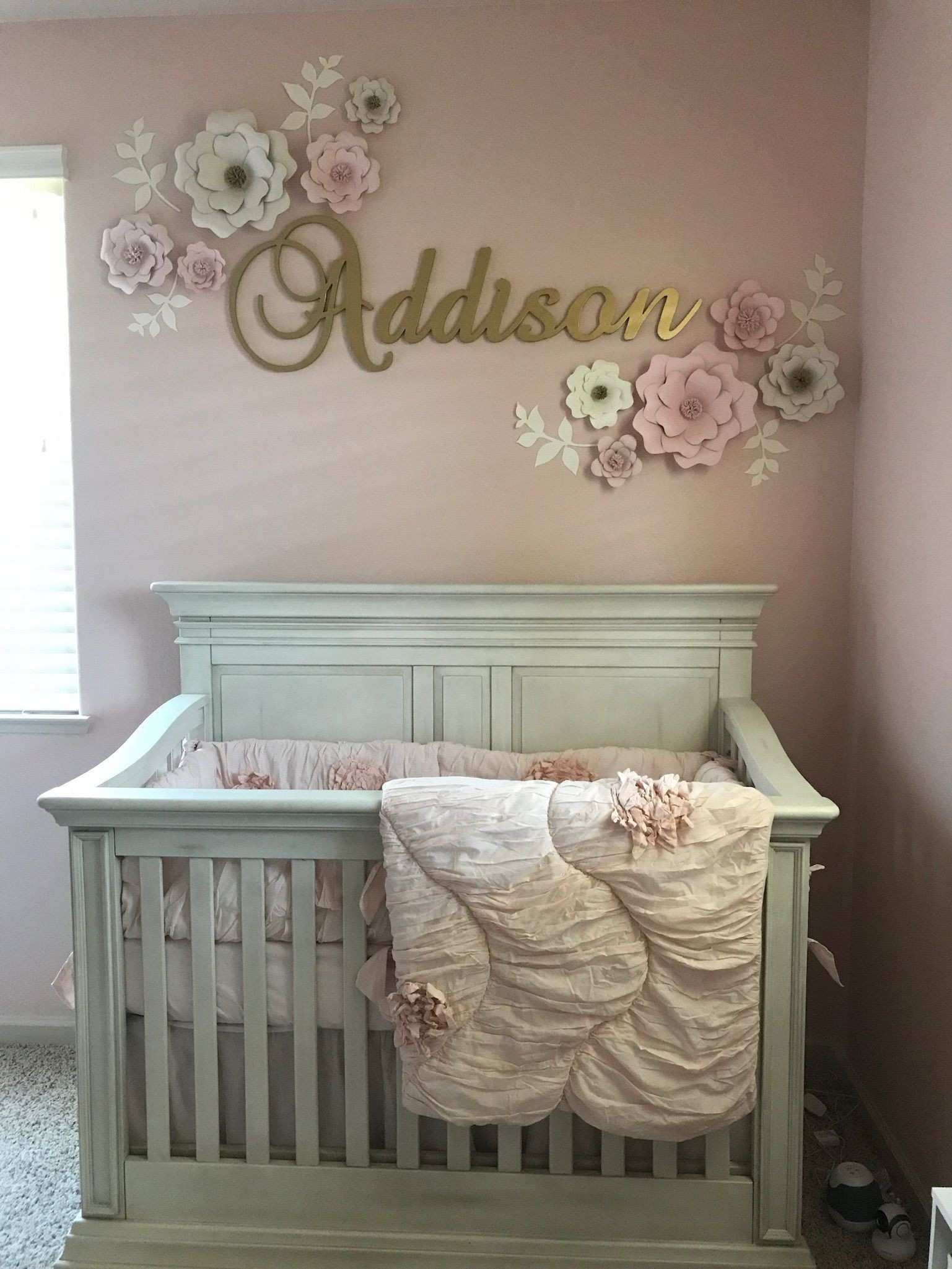 Baby Girl Nursery with Pink and Gold theme Design Baby Room Wall