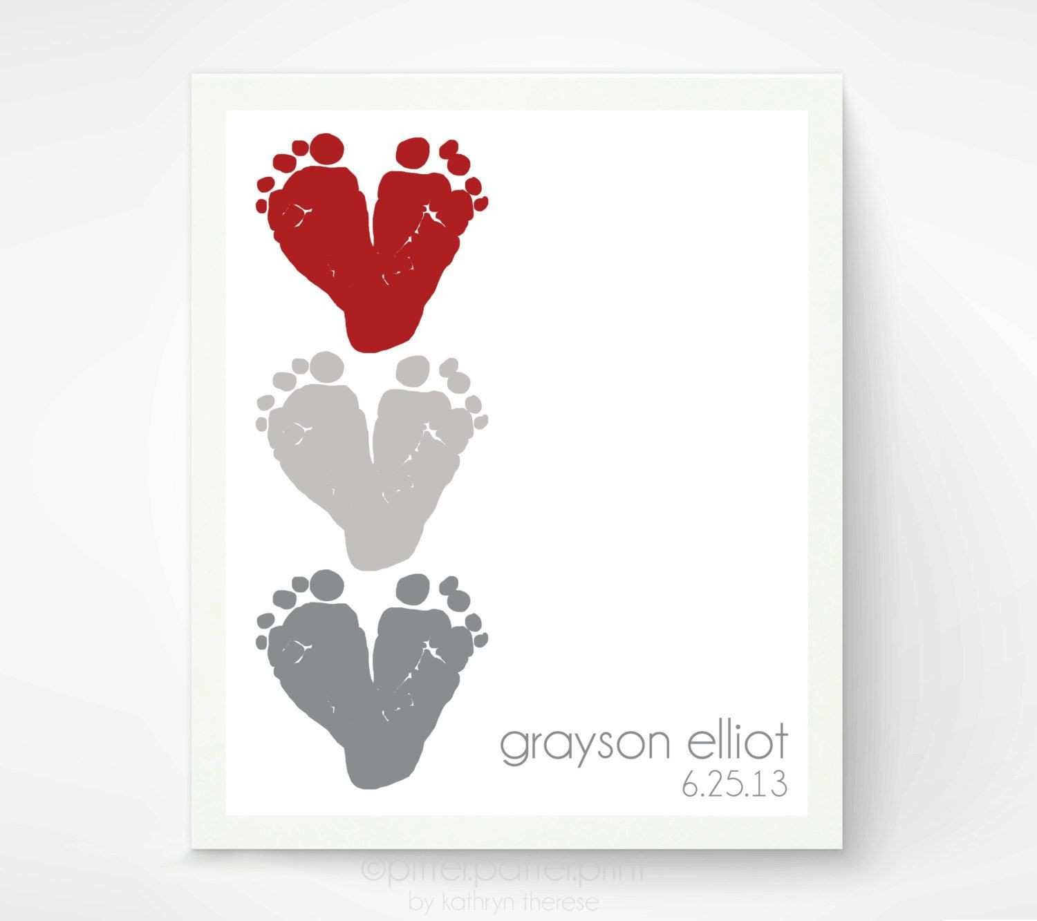 Baby Footprint Heart Art Personalized Baby Name Nursery Decor Gift