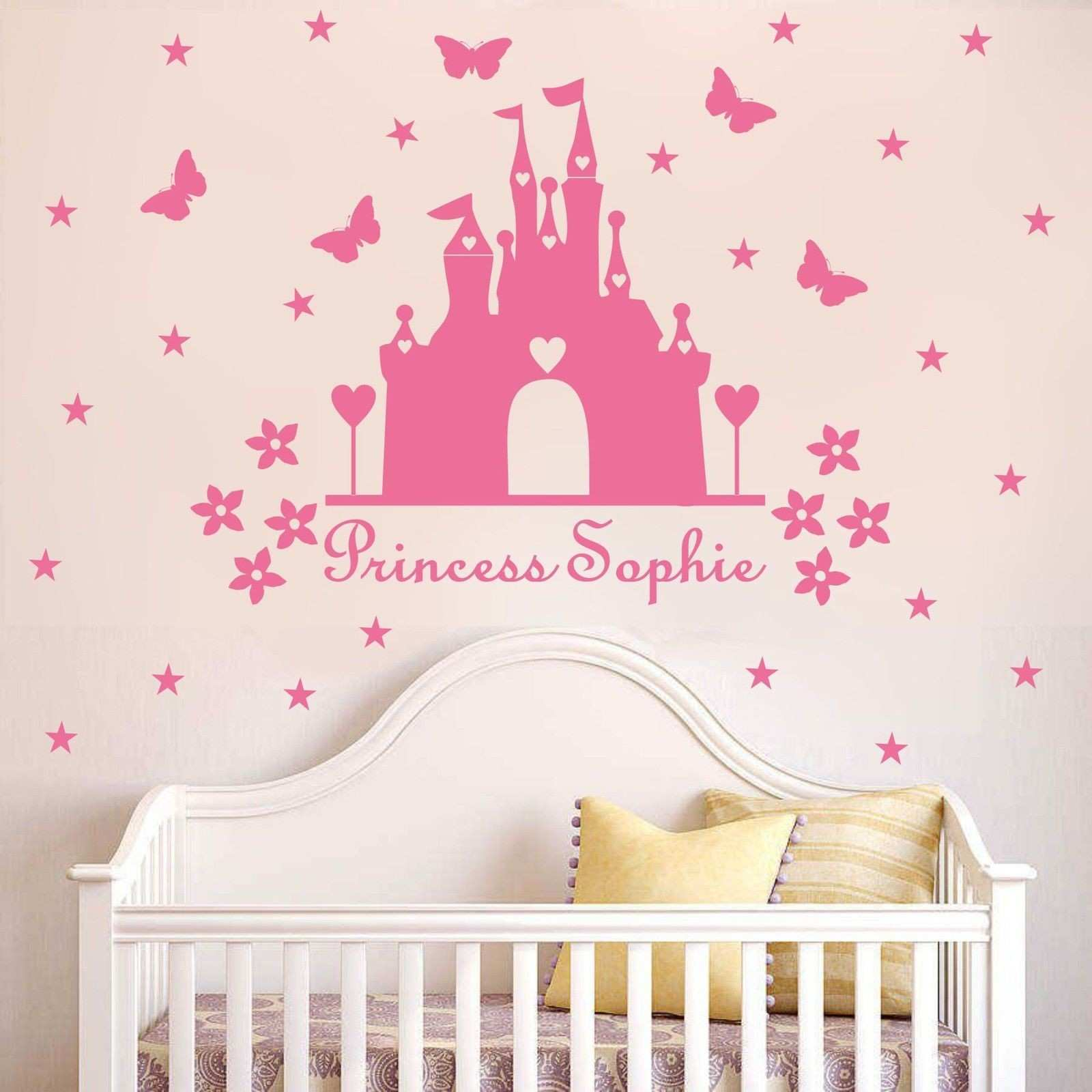 W340 Princess castle WALL sticker with personalised name kids room