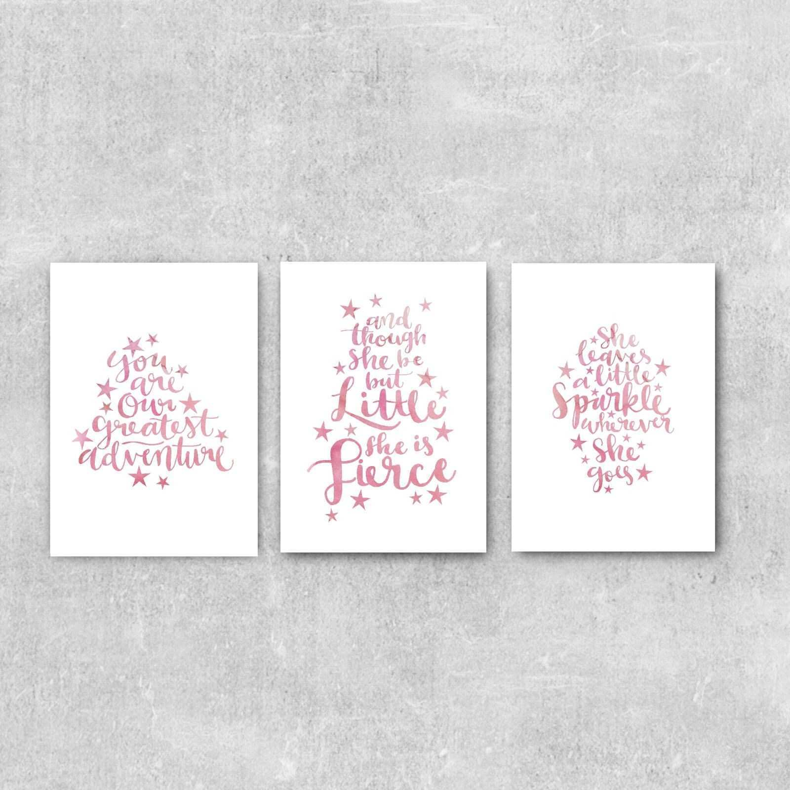 Girls Room Decor Pink Nursery Print Set Baby Girl Nursery Wall Art