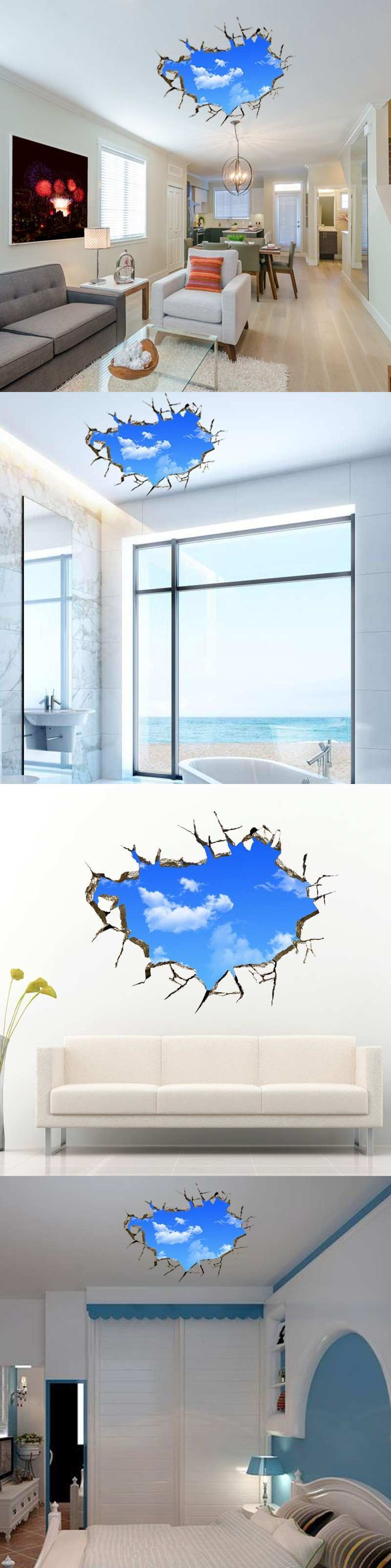 Baby Wall Stickers Awesome Creative Home Decor 3d Wall Stickers Blue Sky White Cloud Pattern