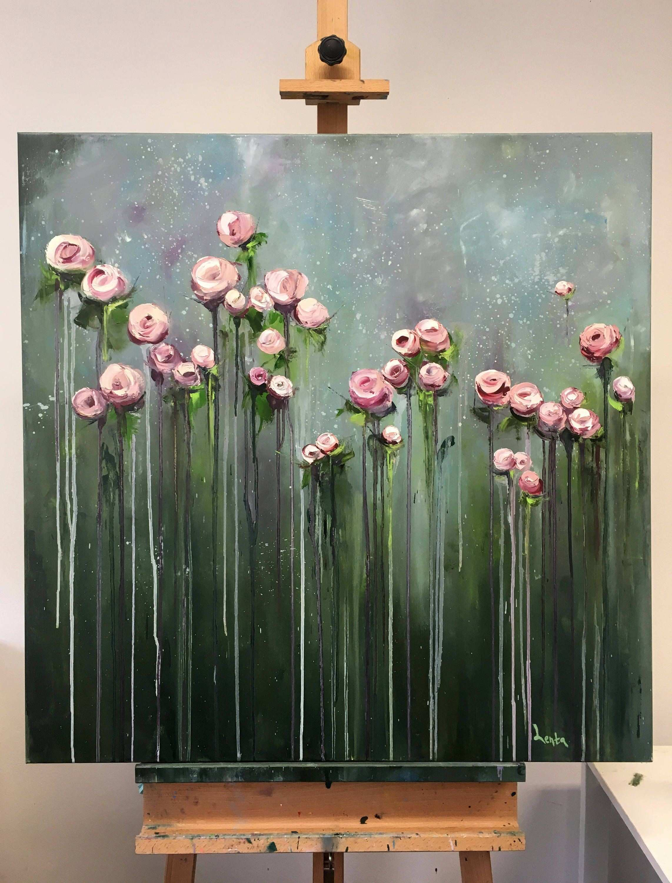 Big Flowers Art Work Original Oil Painting Handmade Painting