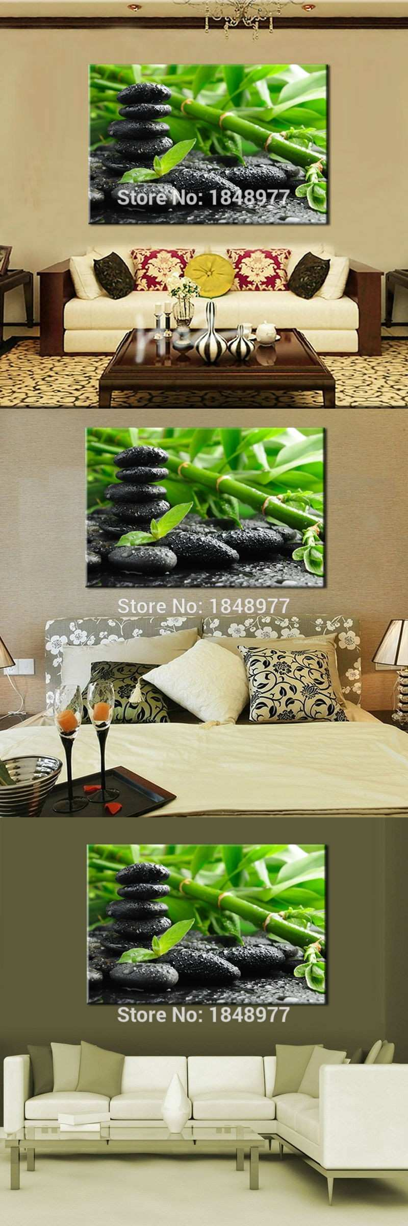 Modern Wall Art Bamboo Oil Painting Canvas Modern Home Decor For
