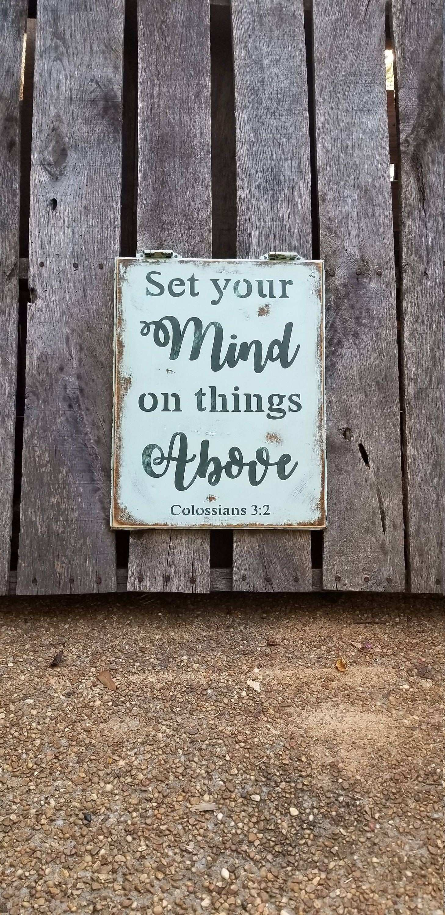 Set Your Mind Wood Sign Reclaimed Recycled Wooden Wall Art Home