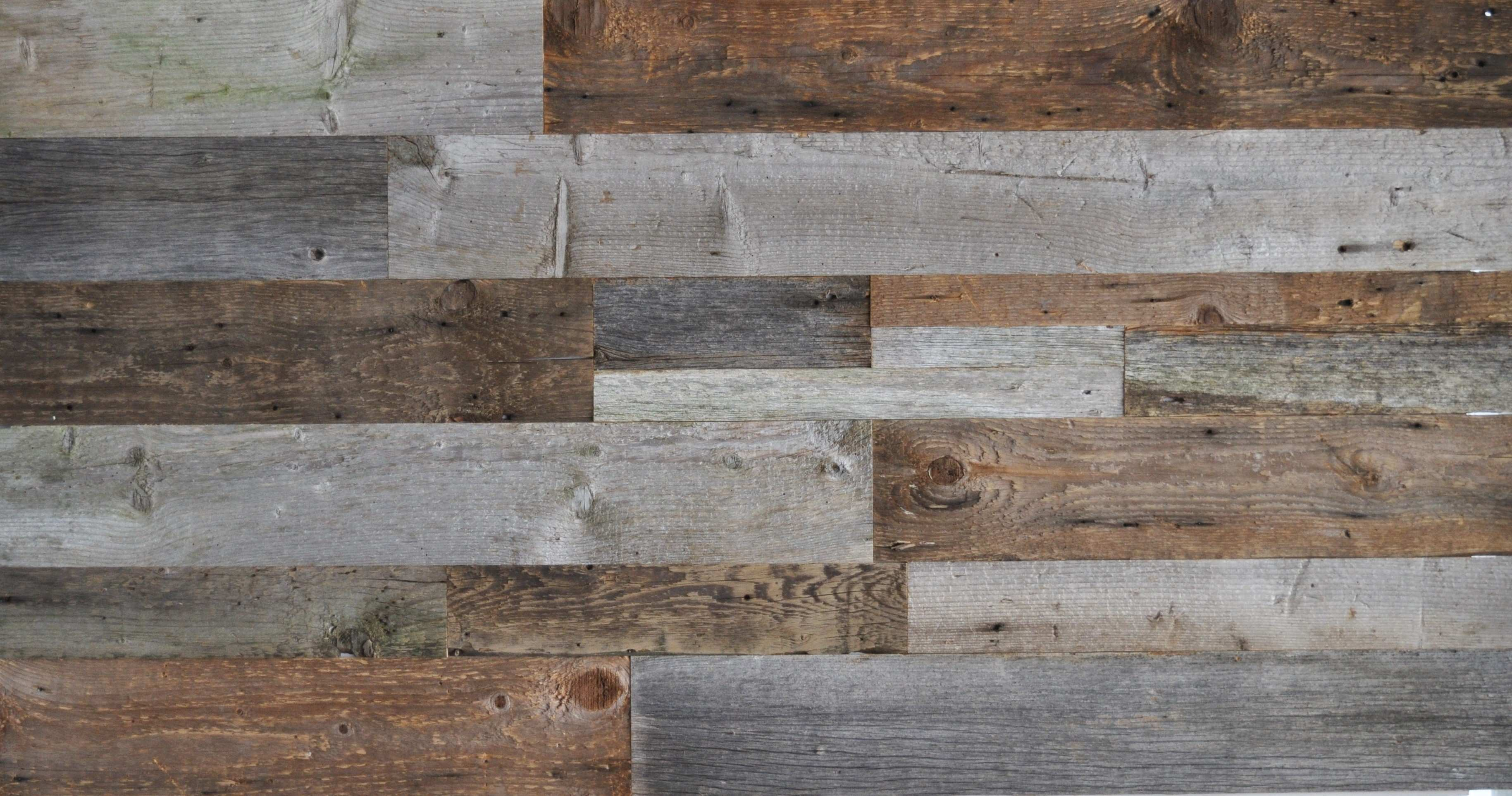 DIY Reclaimed Wood Accent Wall Grey and Natural Brown Shades Mixed Widths Priced Per Square Foot