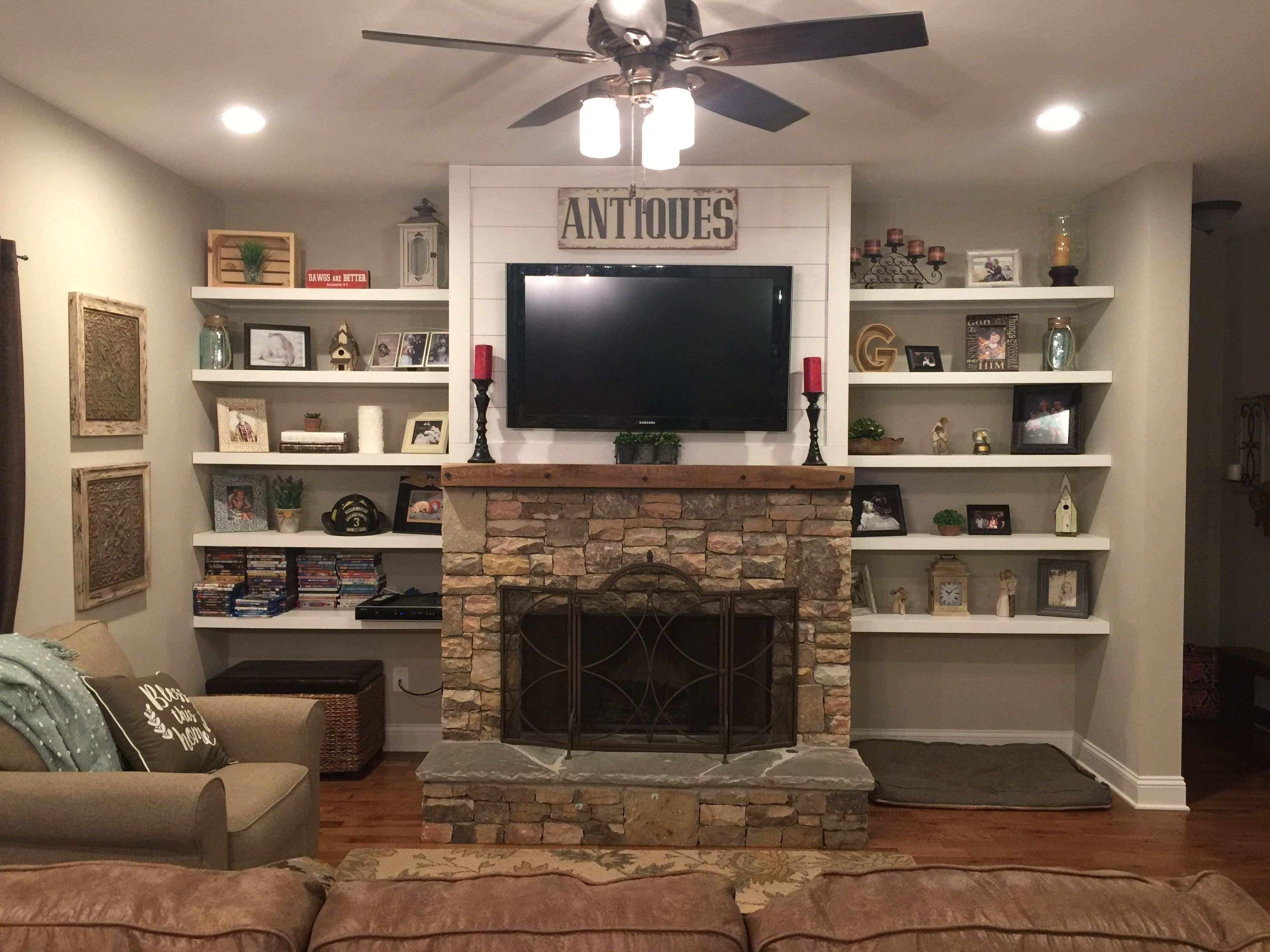 Fireplace Wall Decor Unique Stacked Rock Fireplace Barnwood Mantel