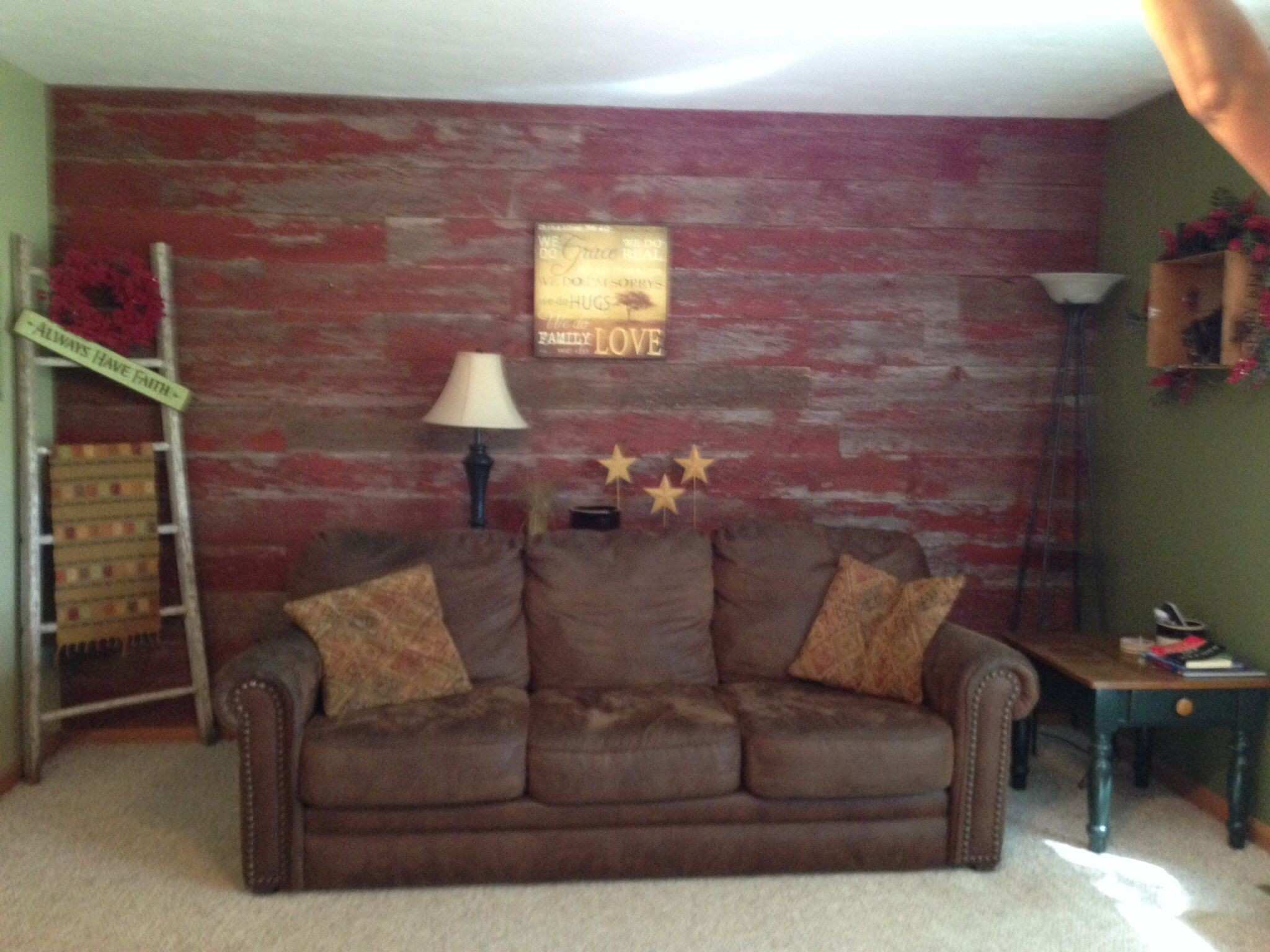 love the vintage red barn wood wall plank ceiling & beams from