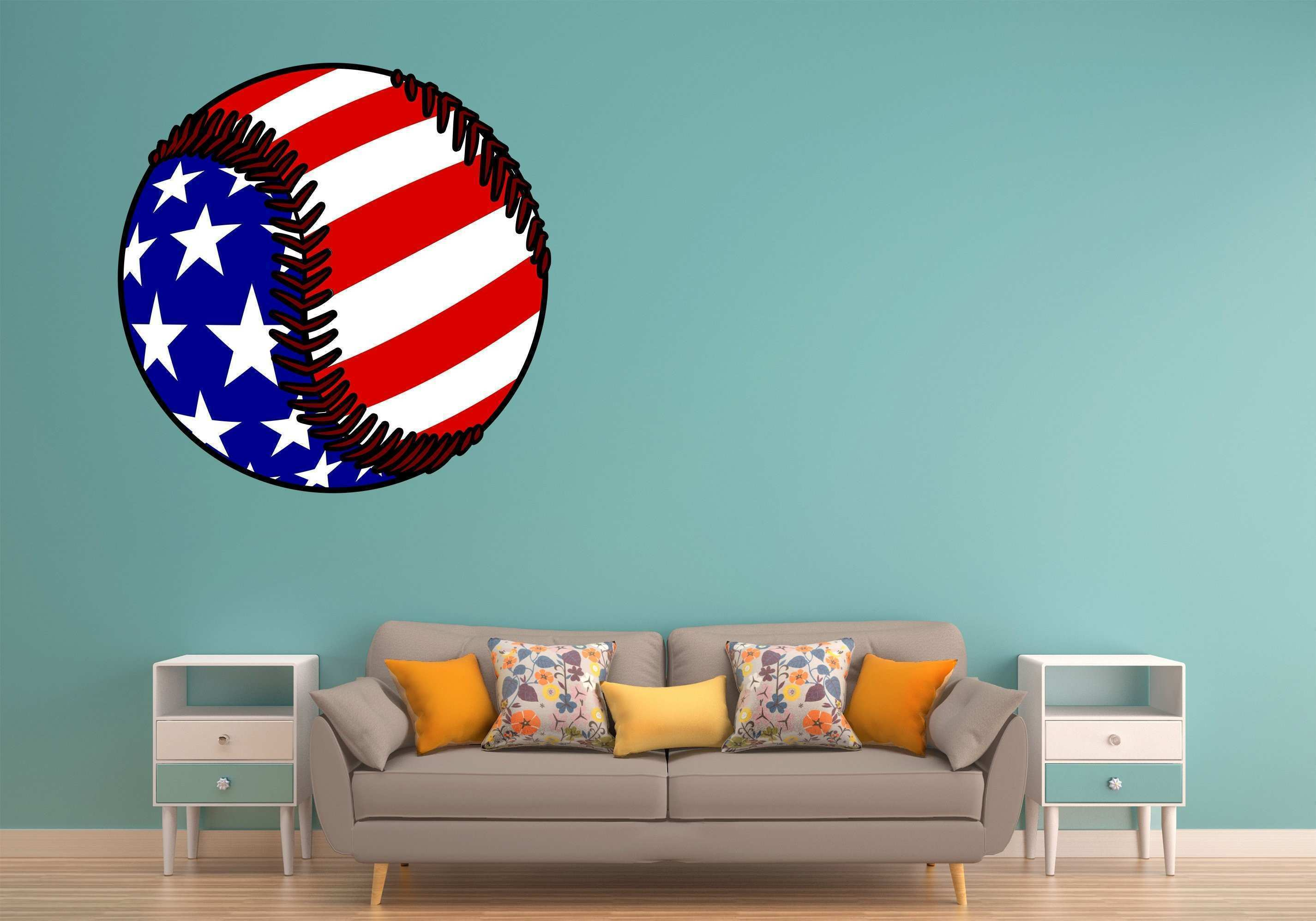Red White Blue Baseball Wall Art Decal Sticker – Let s Print Big