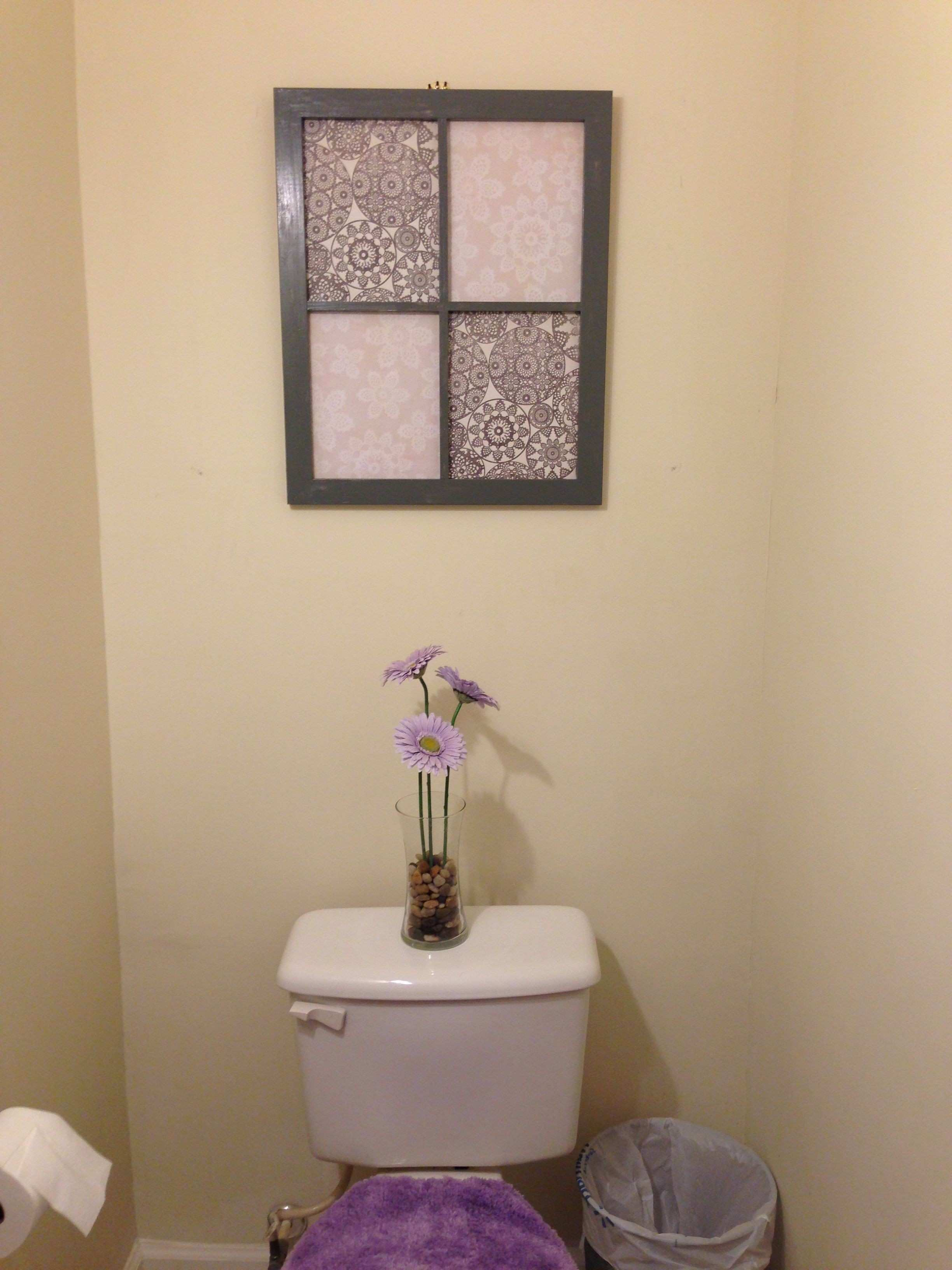 DIY wall art for the bathroom Painted frame with scrapbook paper