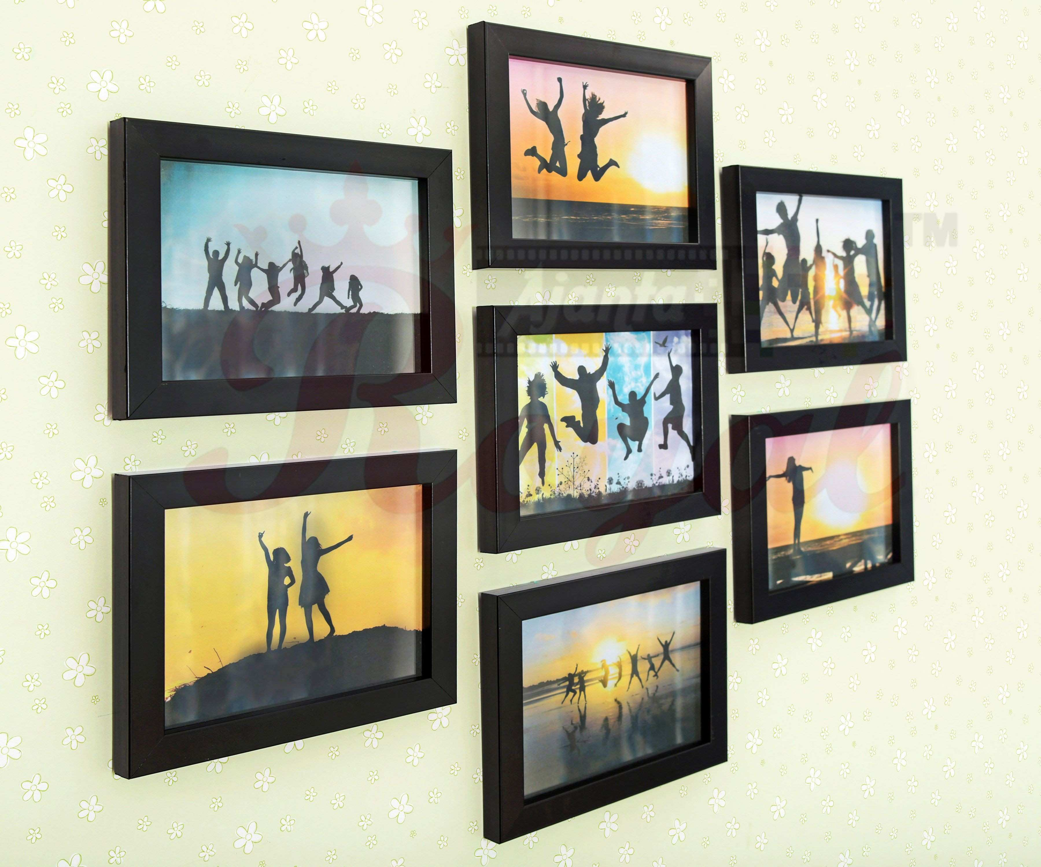 AJANTA ROYAL Glass Wall Hanging Black Frame Sets Pack of 7