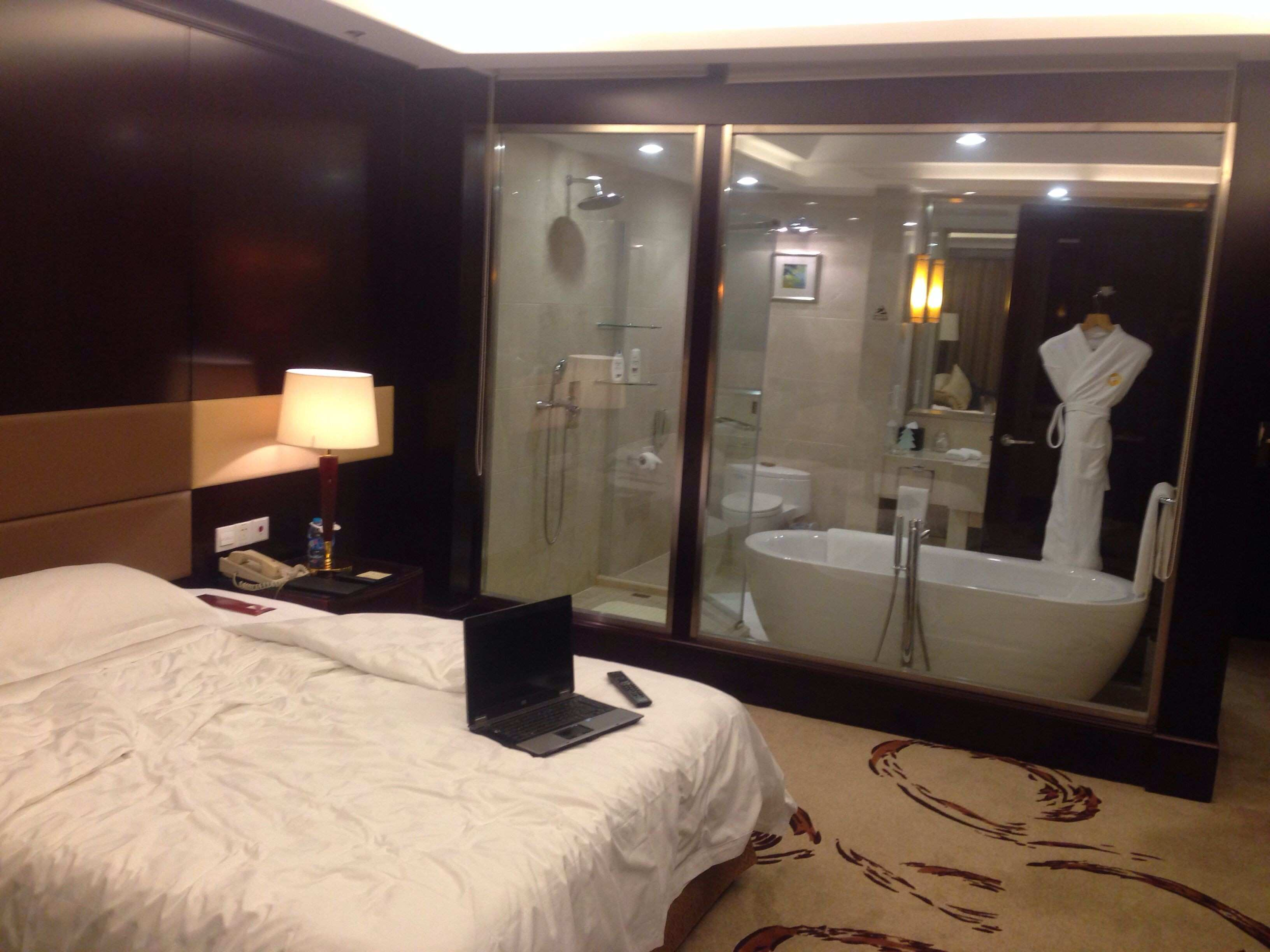 My hotel room bathroom has a glass wall and you can see inside