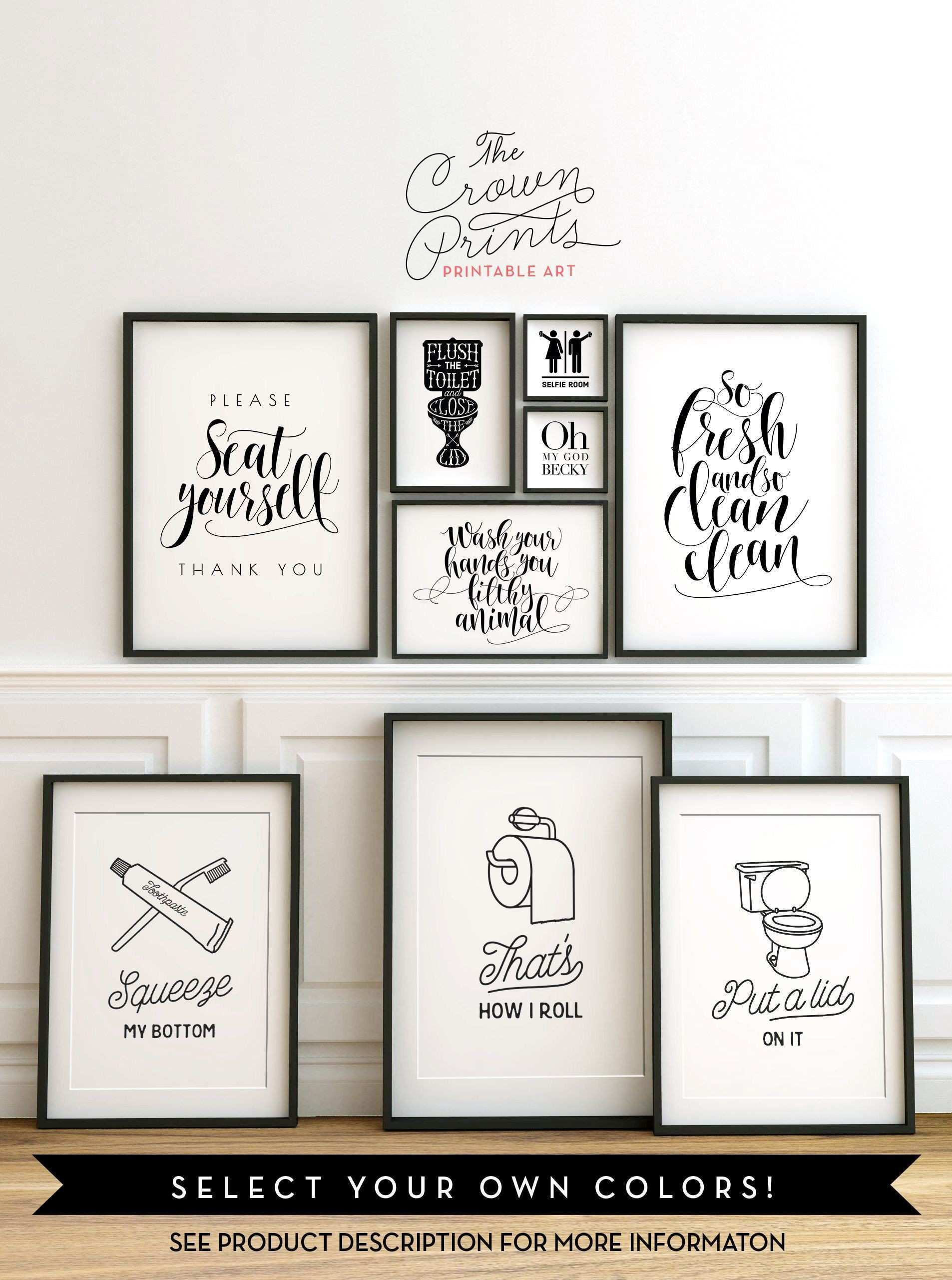 Printable bathroom wall art from The Crown Prints on Etsy lots of