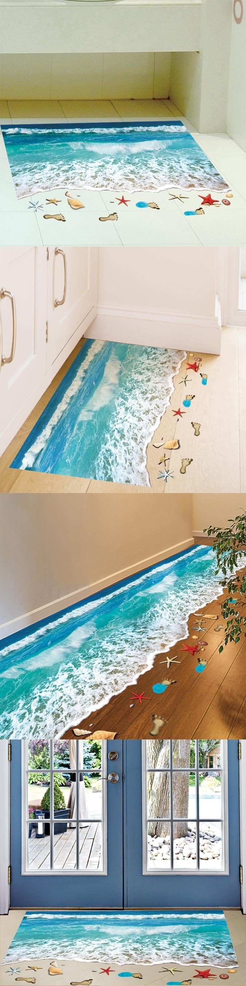 SHIJUEHEZI] Starfish Footprint Sea Beach 3D Floor Stickers Vinyl DIY