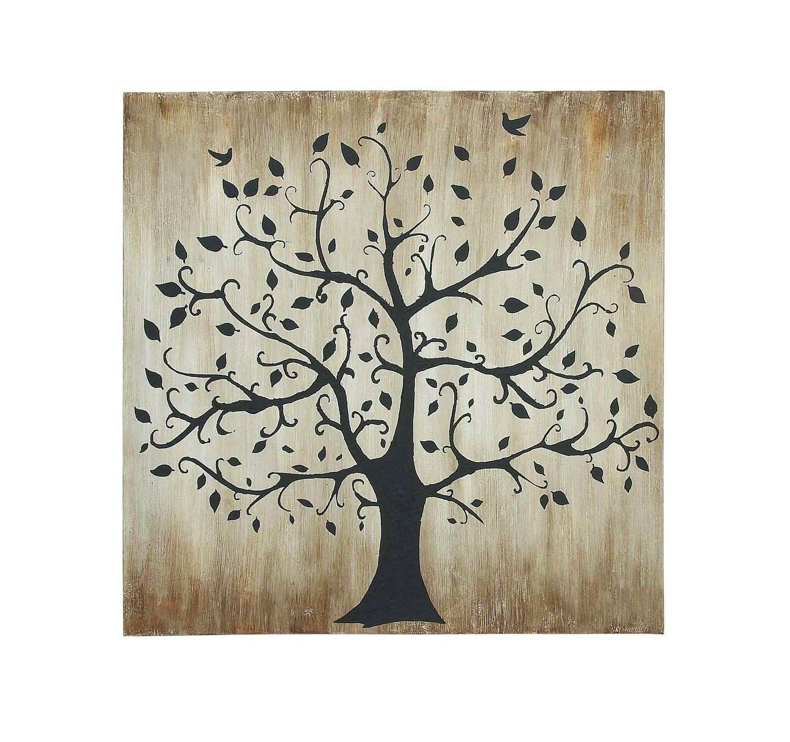 47x47 Black Shadow Tree Birds Brown Canvas Wall Art Home Decor