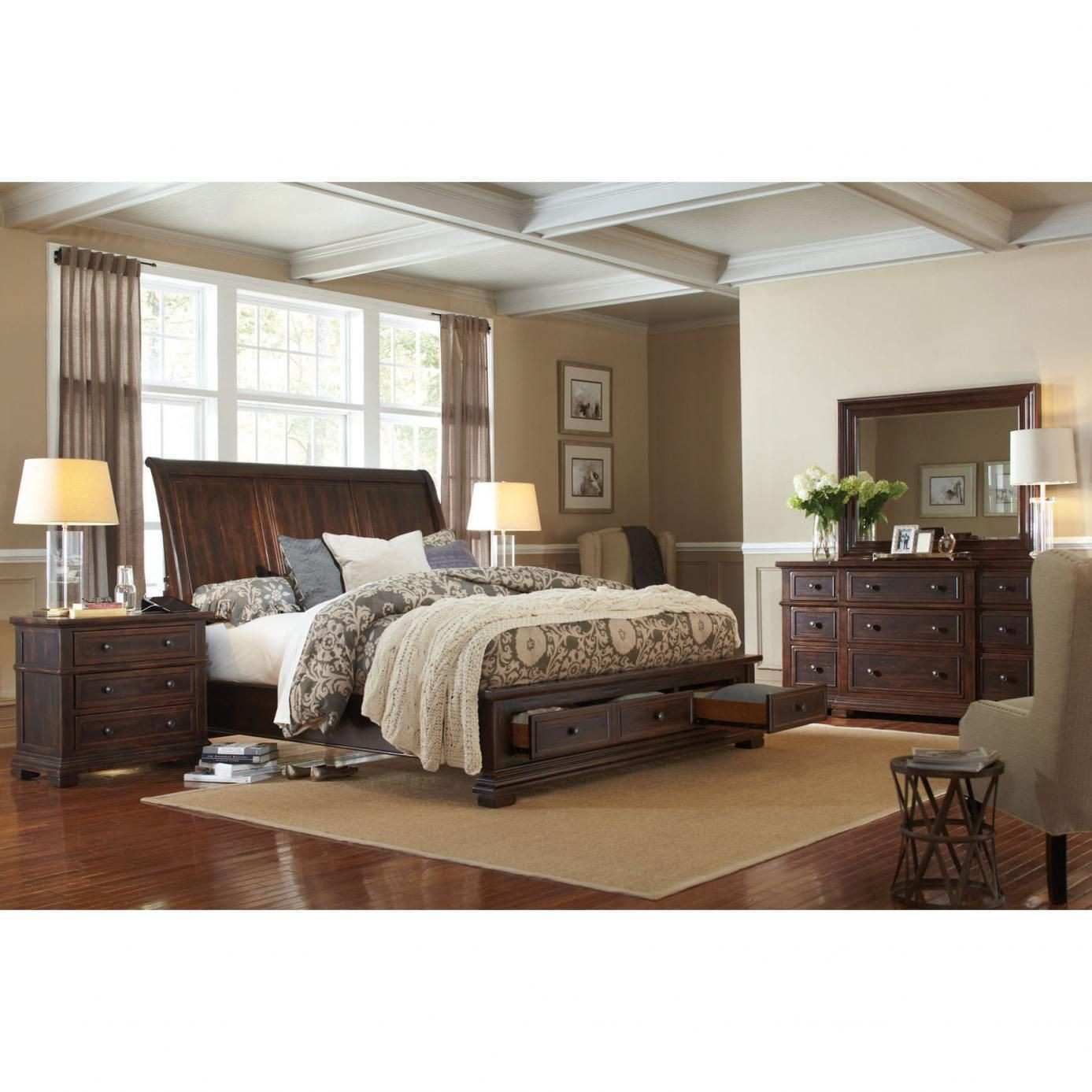 aspenhome Westbrooke 4 Piece Sleigh Storage Bedroom Set with 2nd
