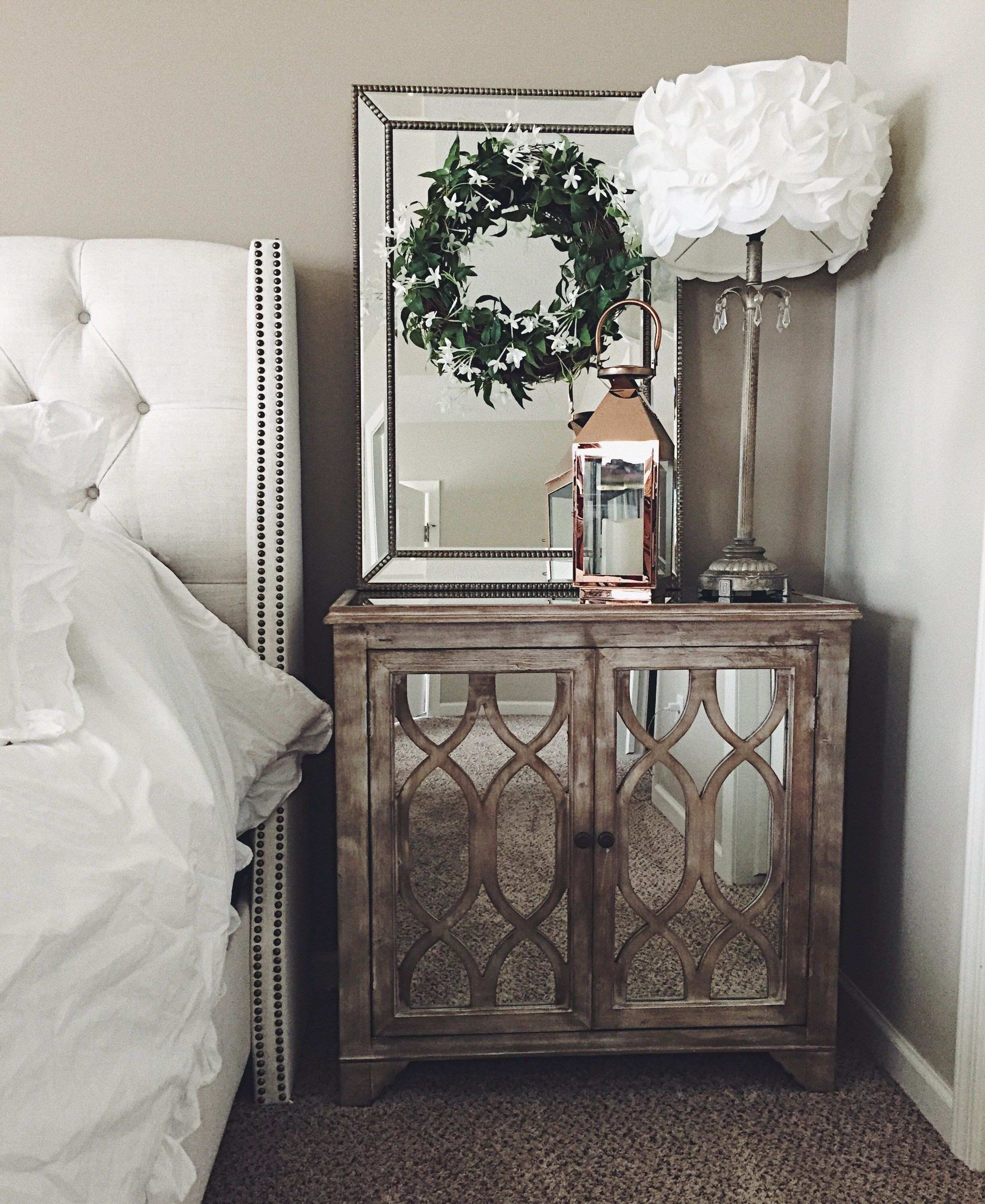 Rustic mirrored nightstand Addyson living mirrors with wreath