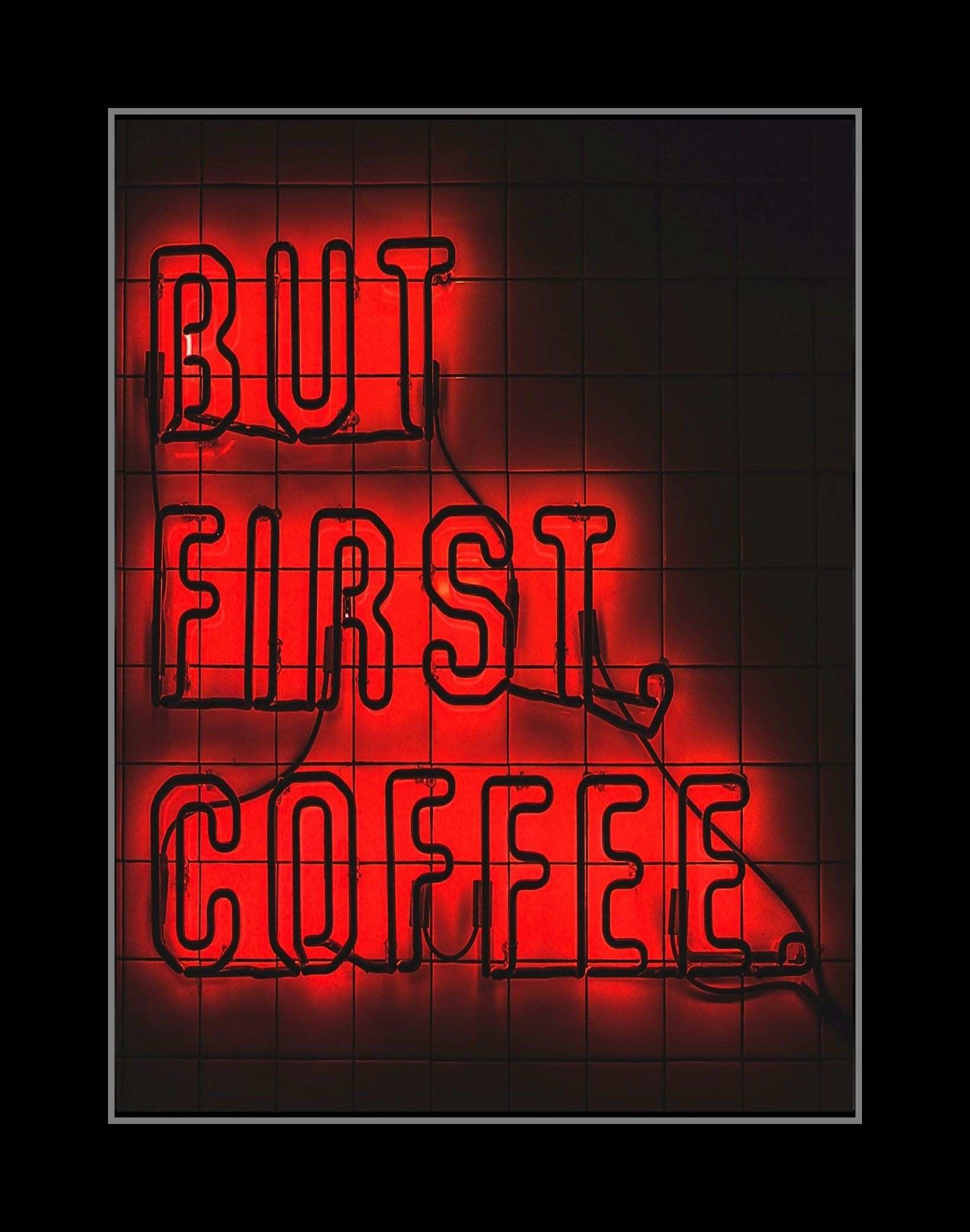 Neon Sign Kitchen Art Print Coffee Coffee Cup Wall Decor Pantry