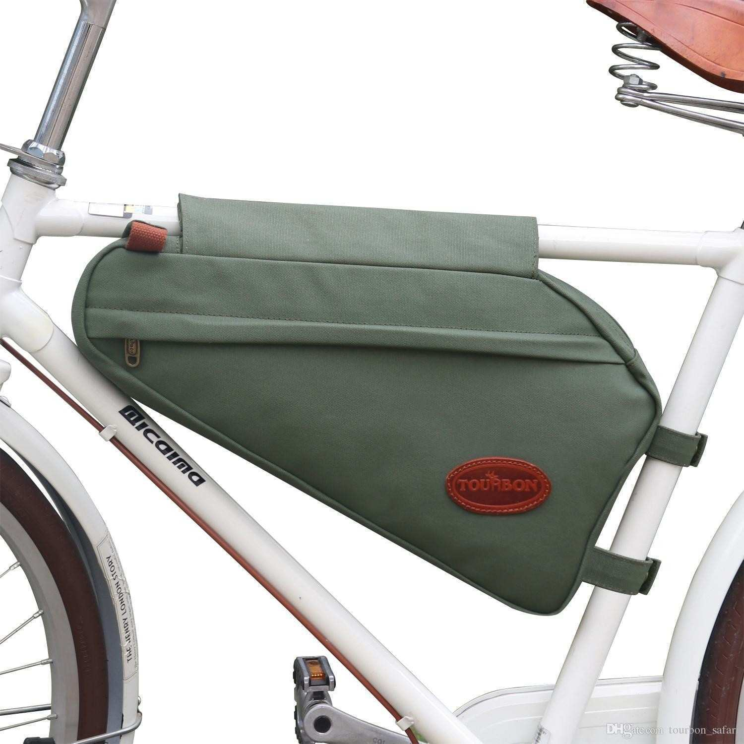 Tourbon Bike Frame Tube Triangle Bag Bicycle Pouch Backpack Green