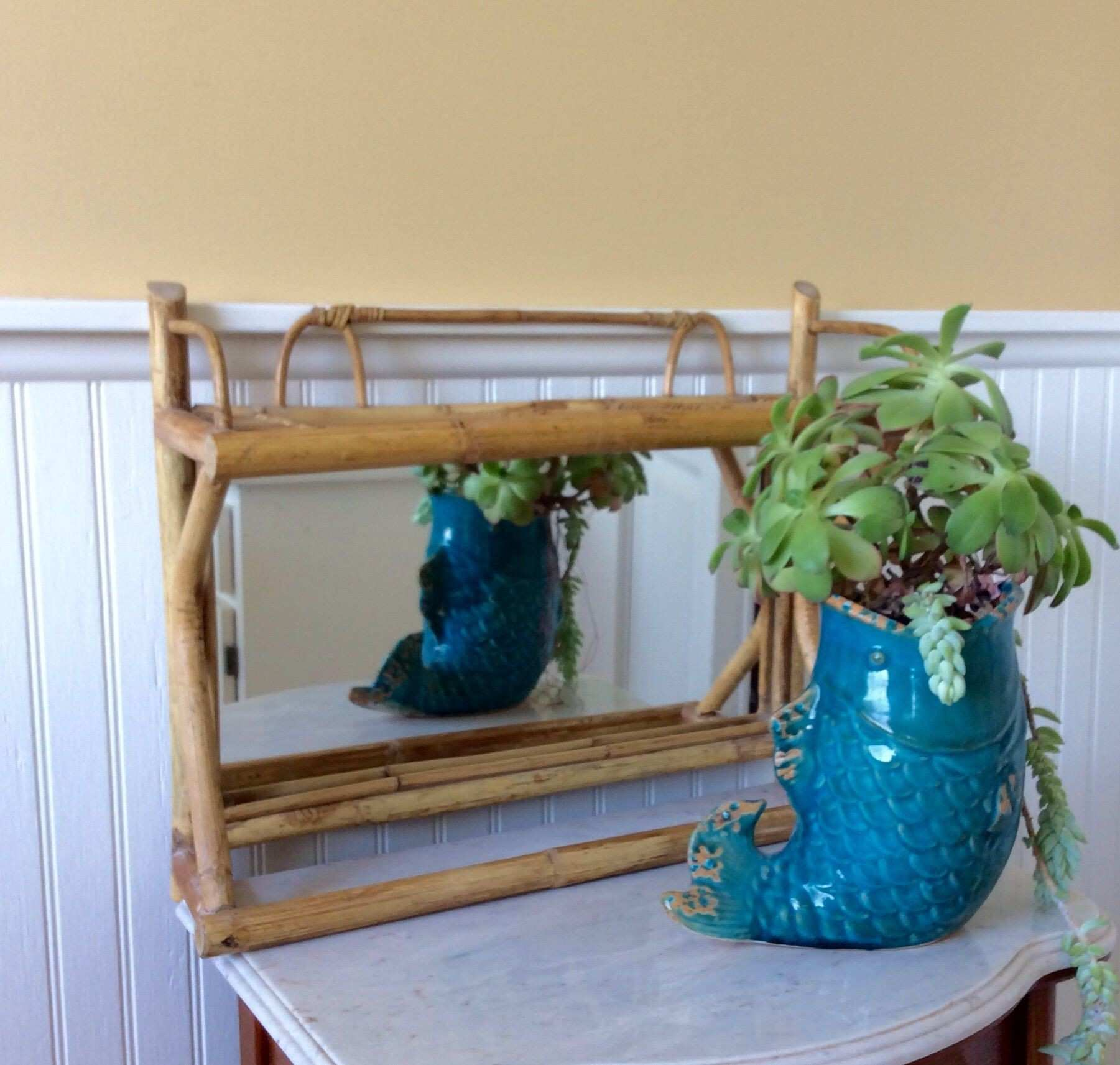Vintage Decorative Bamboo Wall Shelf with Mirror Towel Holder