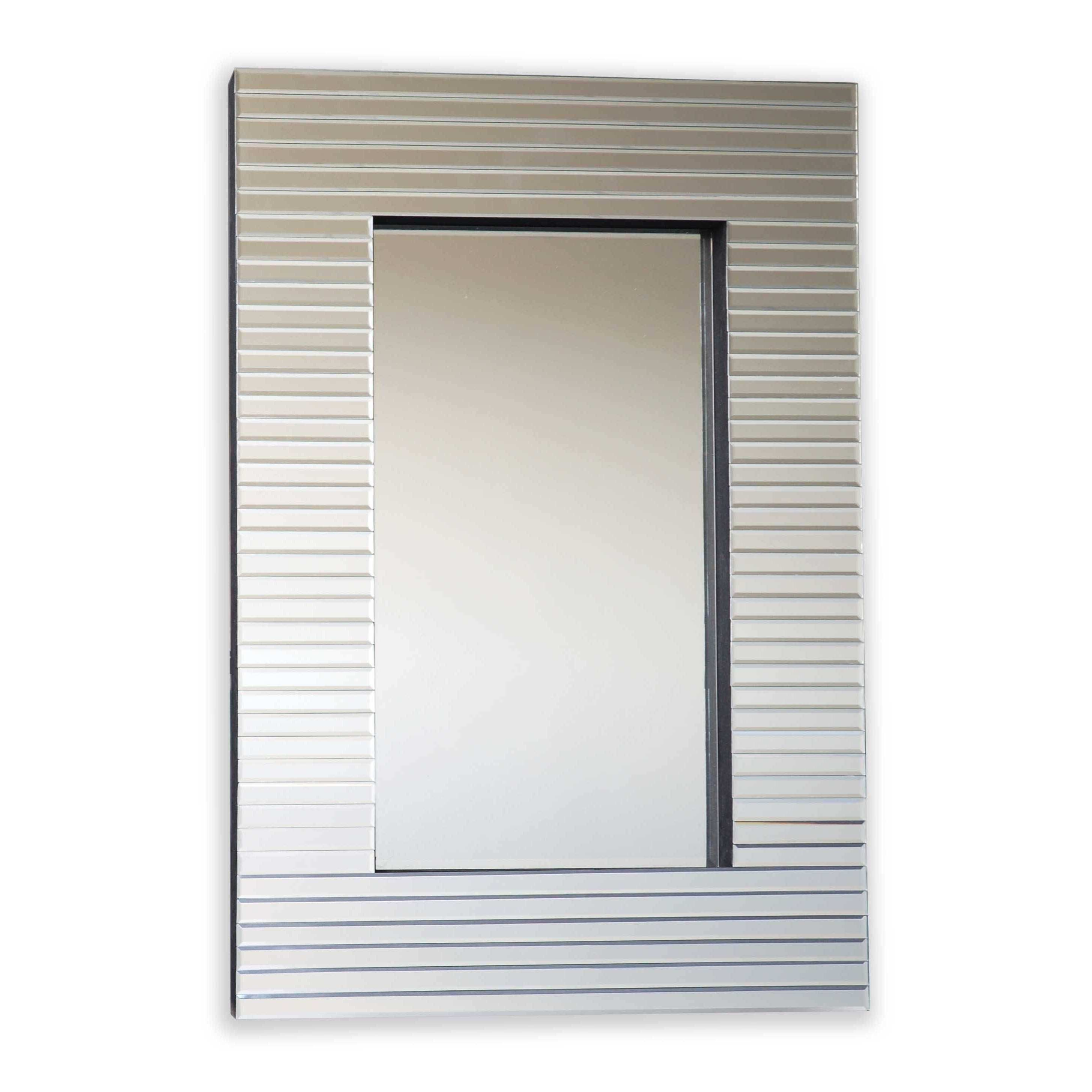 Selections by Chaumont Miami Silver Glass Beveled Ridge Wall Mirror