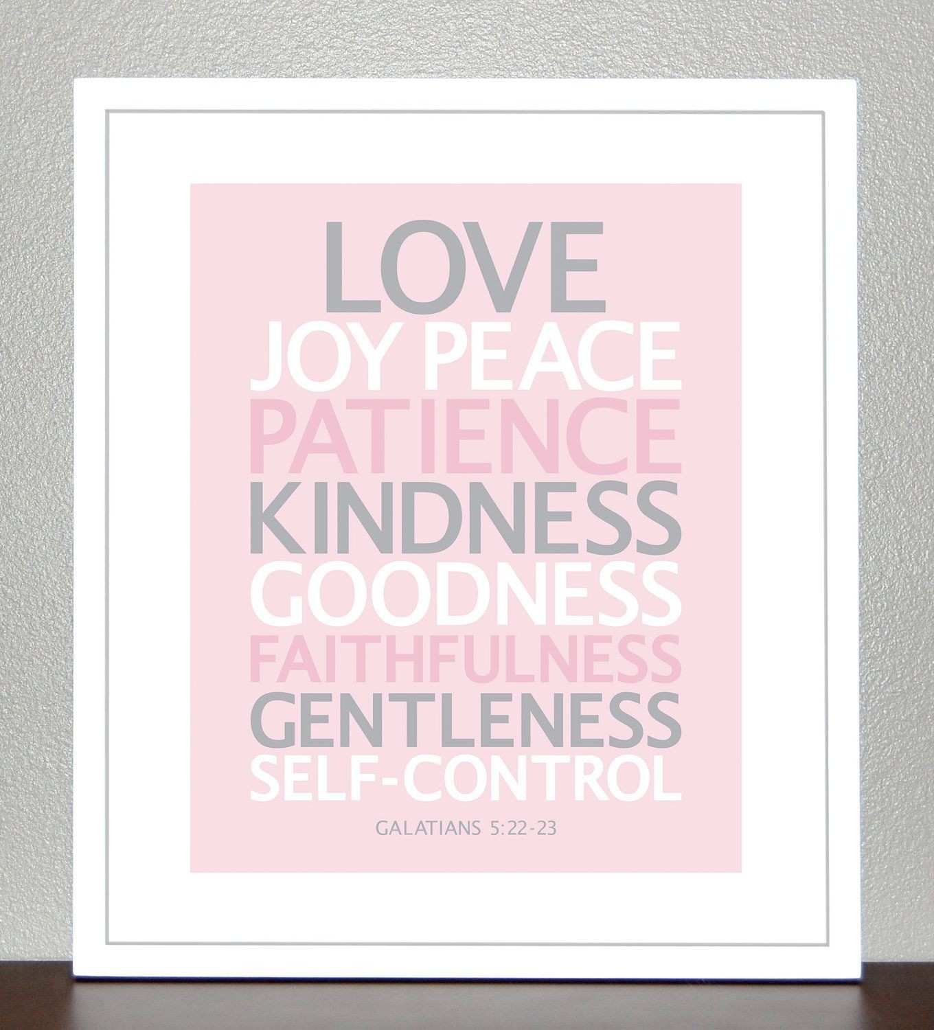 Nursery Decor Bible Verse Love Joy Peace Pink Gray White