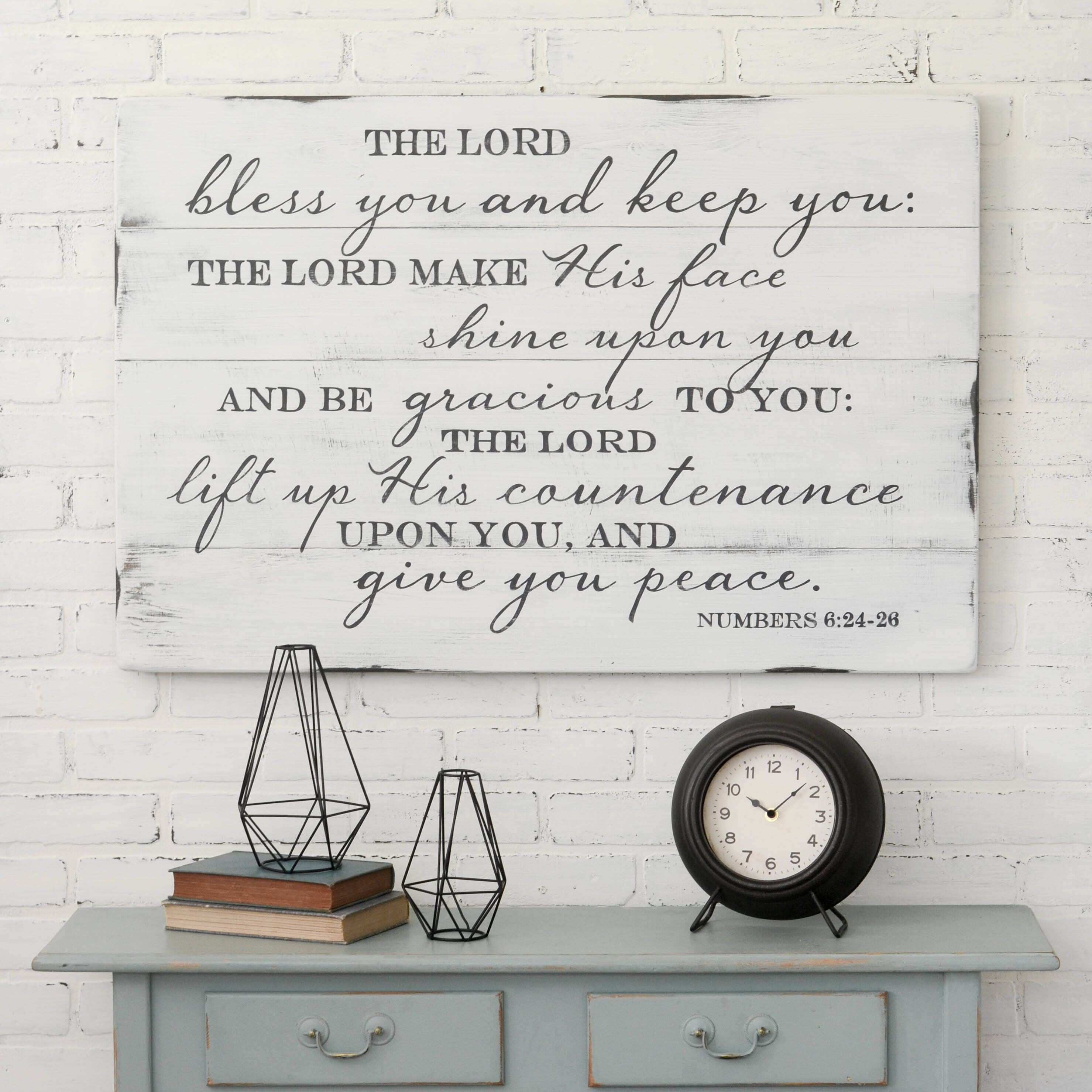 The Lord Bless You Entryway Sign Rustic Sign Christian Wall