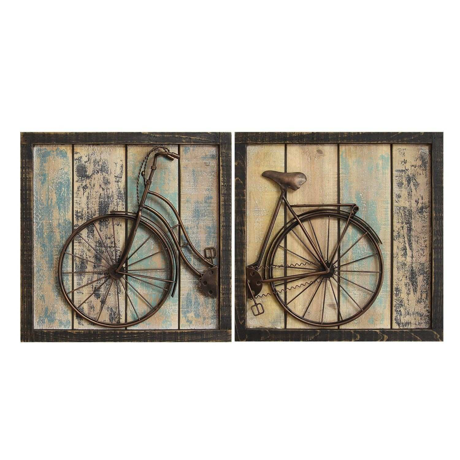Gosport Antique Bicycle Wall Decor Panel Set 2 Design Bike