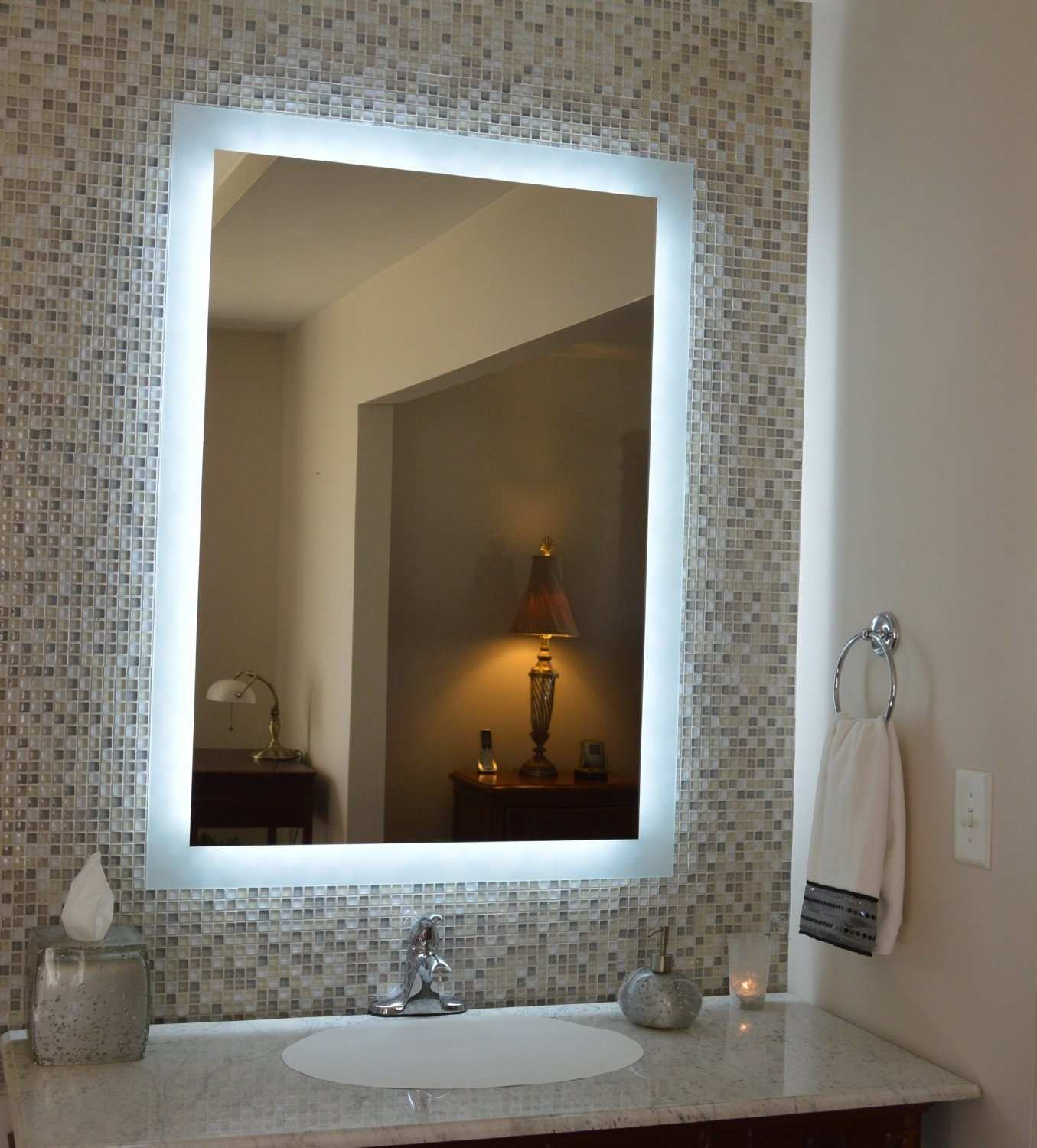 Dazzling Bath Mirror With Lights Bathroom Led Image Top Decorating