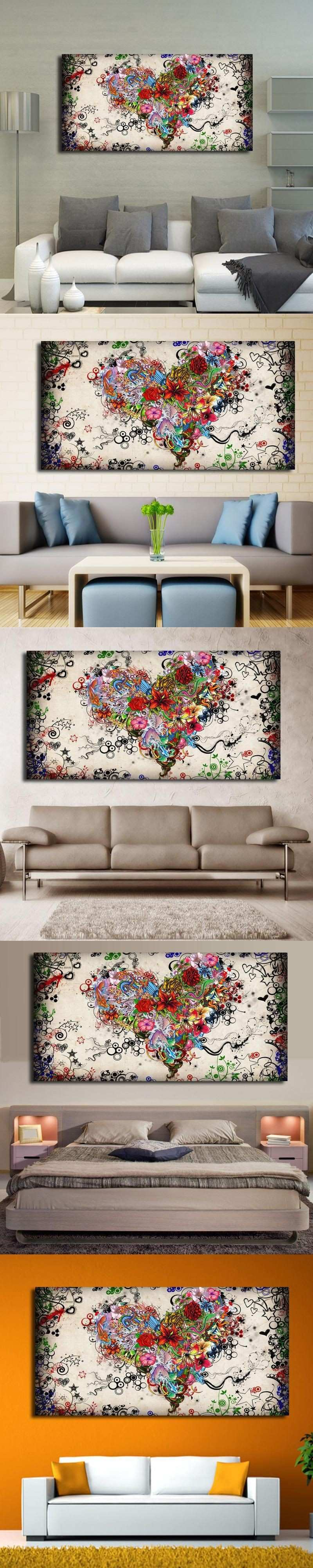 Modern Big canvas wall art canvas painting Watercolor Heart Flowers